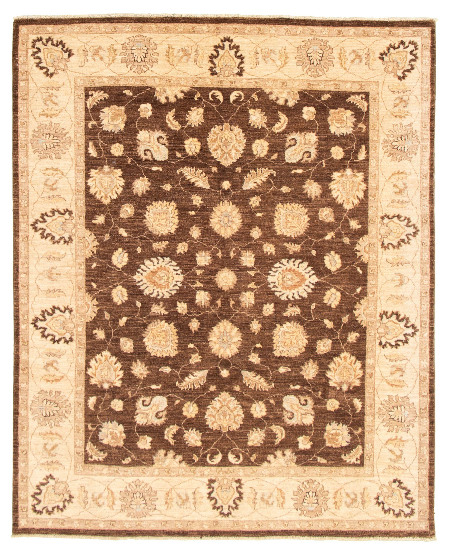 "Hand-knotted Chobi Finest Dark Brown Wool Rug 6'9"" x 8'2"" Size: 6'9"" x 8'2"""