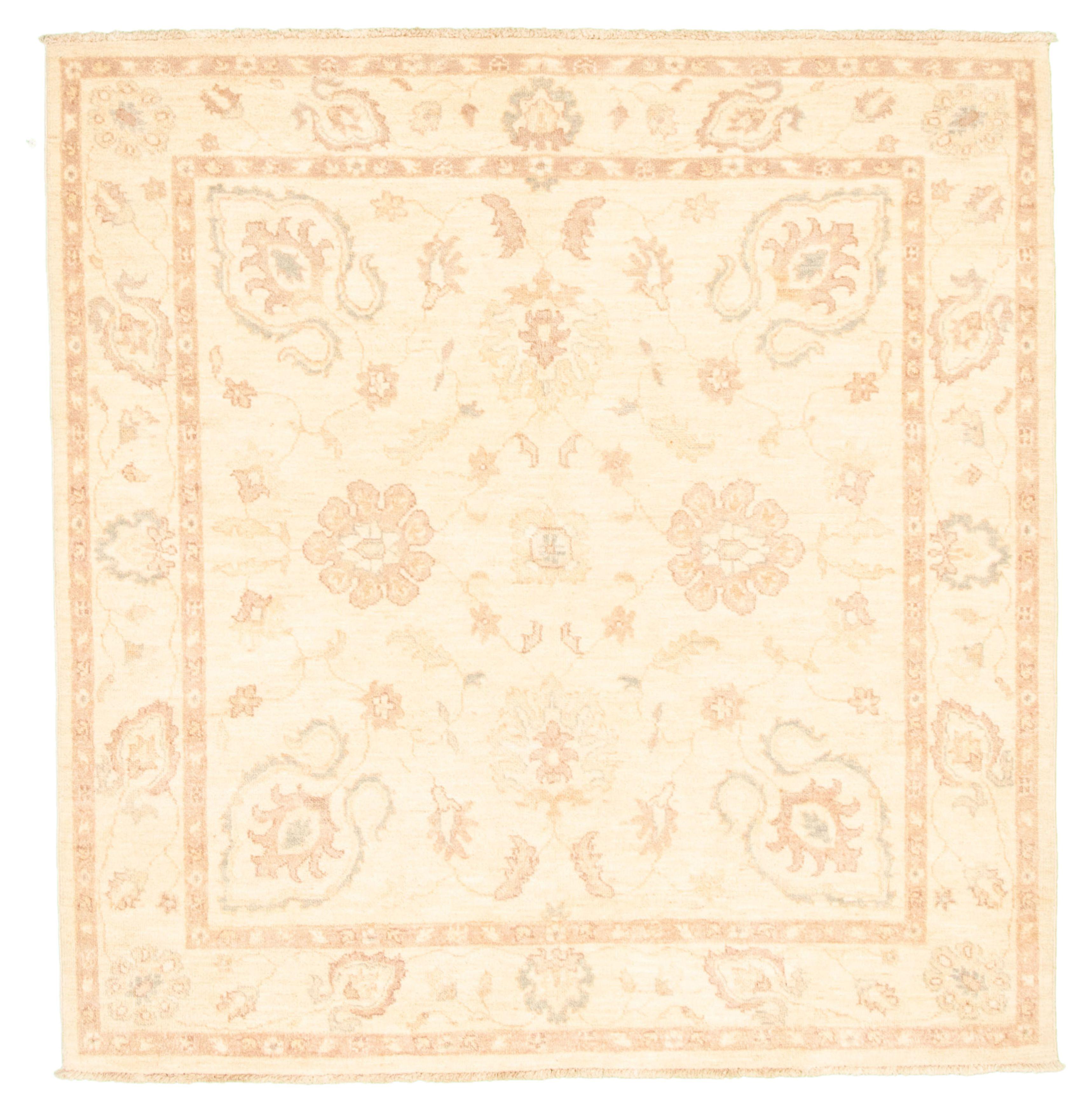 "Hand-knotted Peshawar Oushak Cream Wool Rug 5'3"" x 5'5"" Size: 5'3"" x 5'5"""