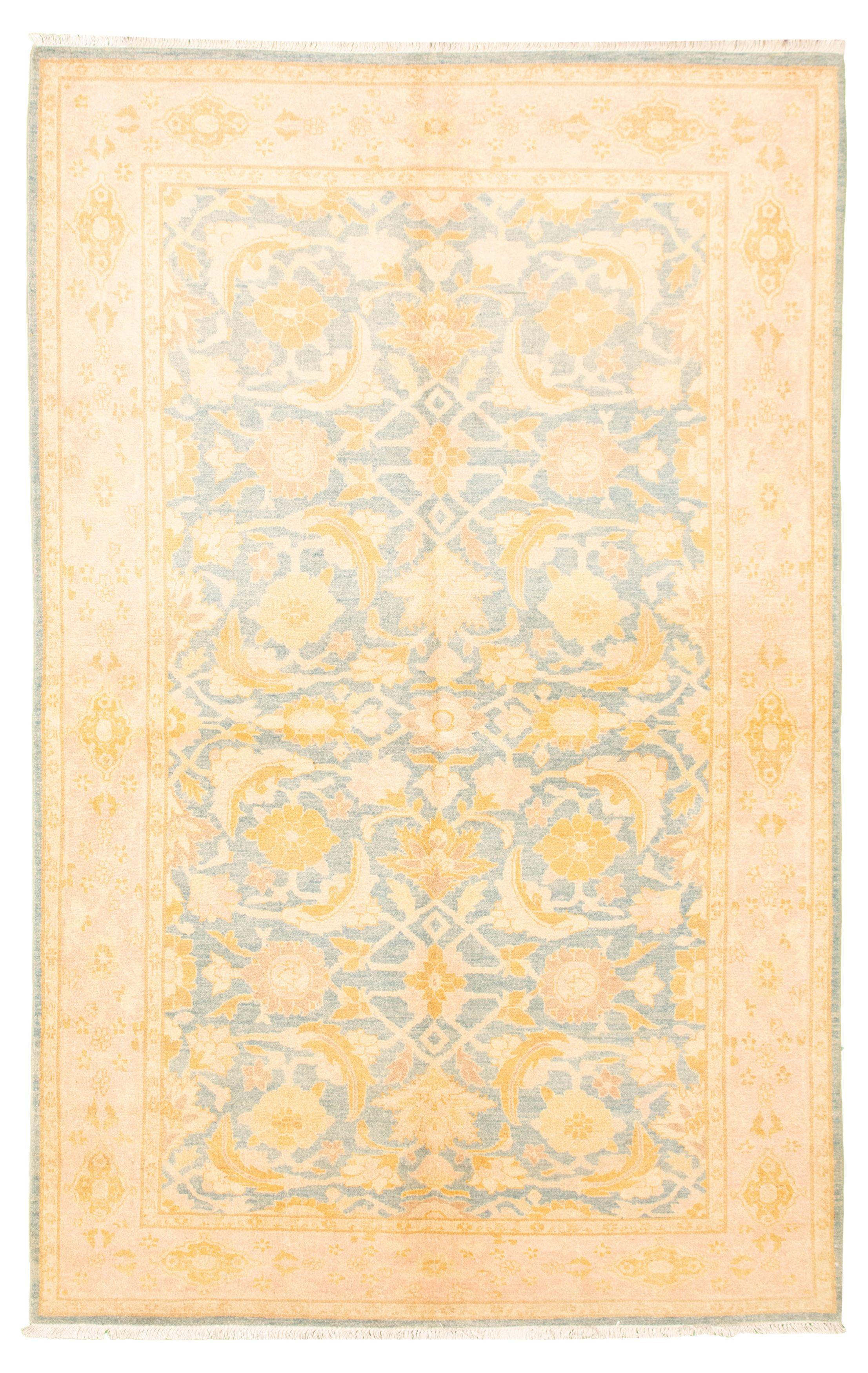 "Hand-knotted Peshawar Oushak Blue Wool Rug 6'2"" x 9'10"" Size: 6'2"" x 9'10"""