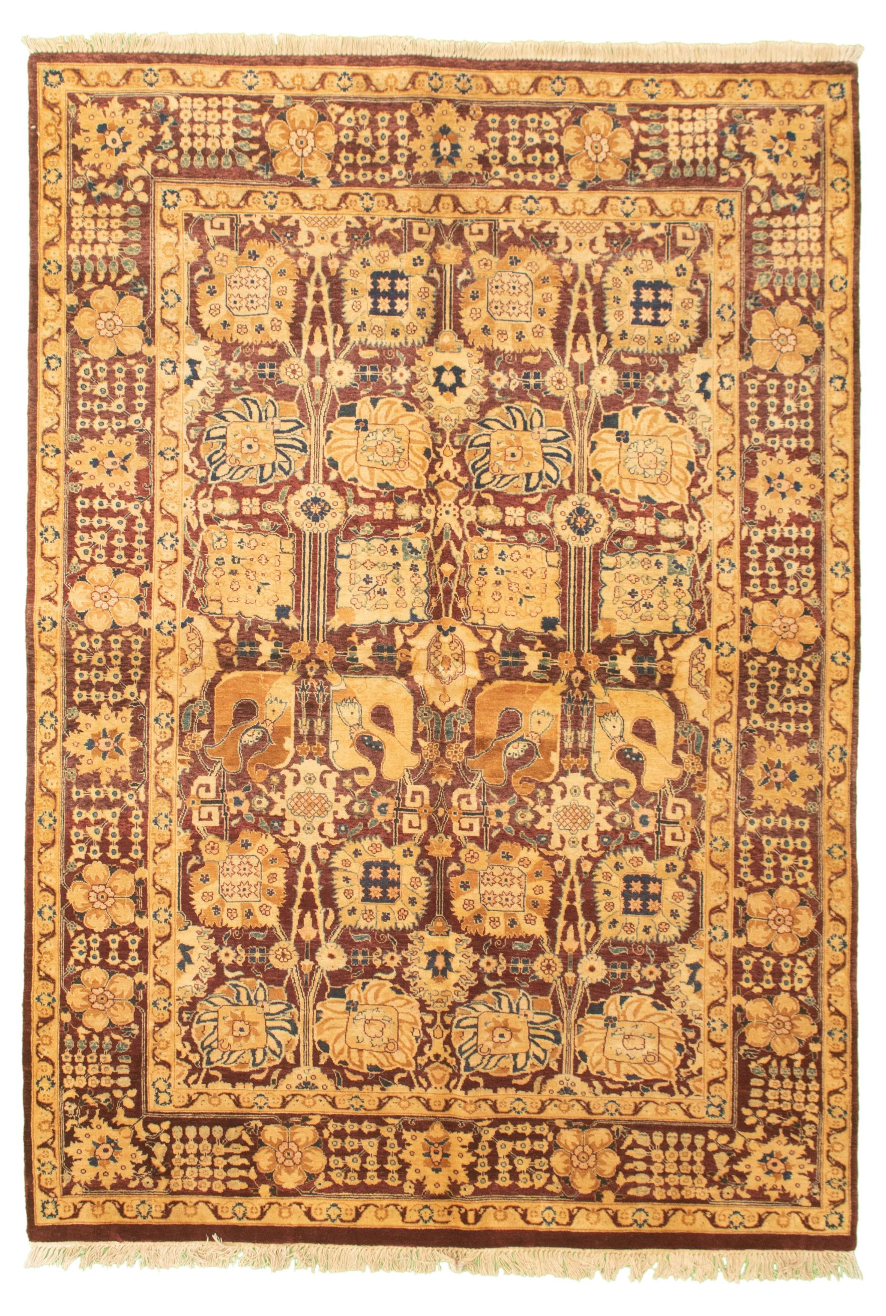 "Hand-knotted Pako Persian 18/20 Burgundy Wool Rug 6'0"" x 8'9"" Size: 6'0"" x 8'9"""