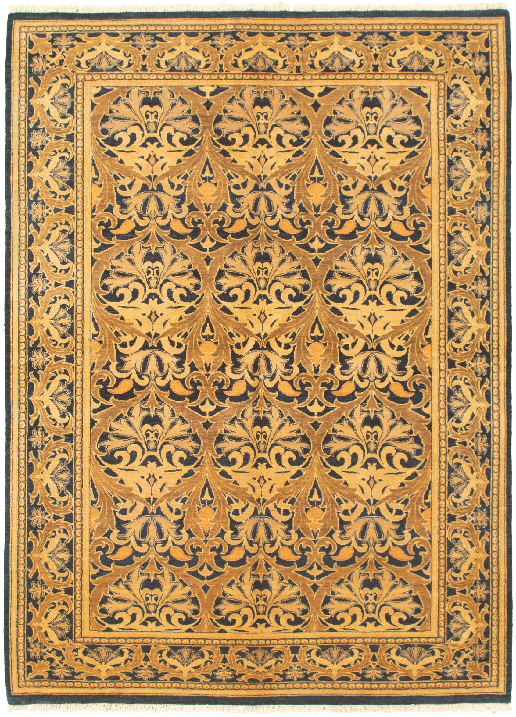 """Hand-knotted Pako Persian 18/20 Navy Blue, Olive Wool Rug 6'1"""" x 8'6"""" Size: 6'1"""" x 8'6"""""""