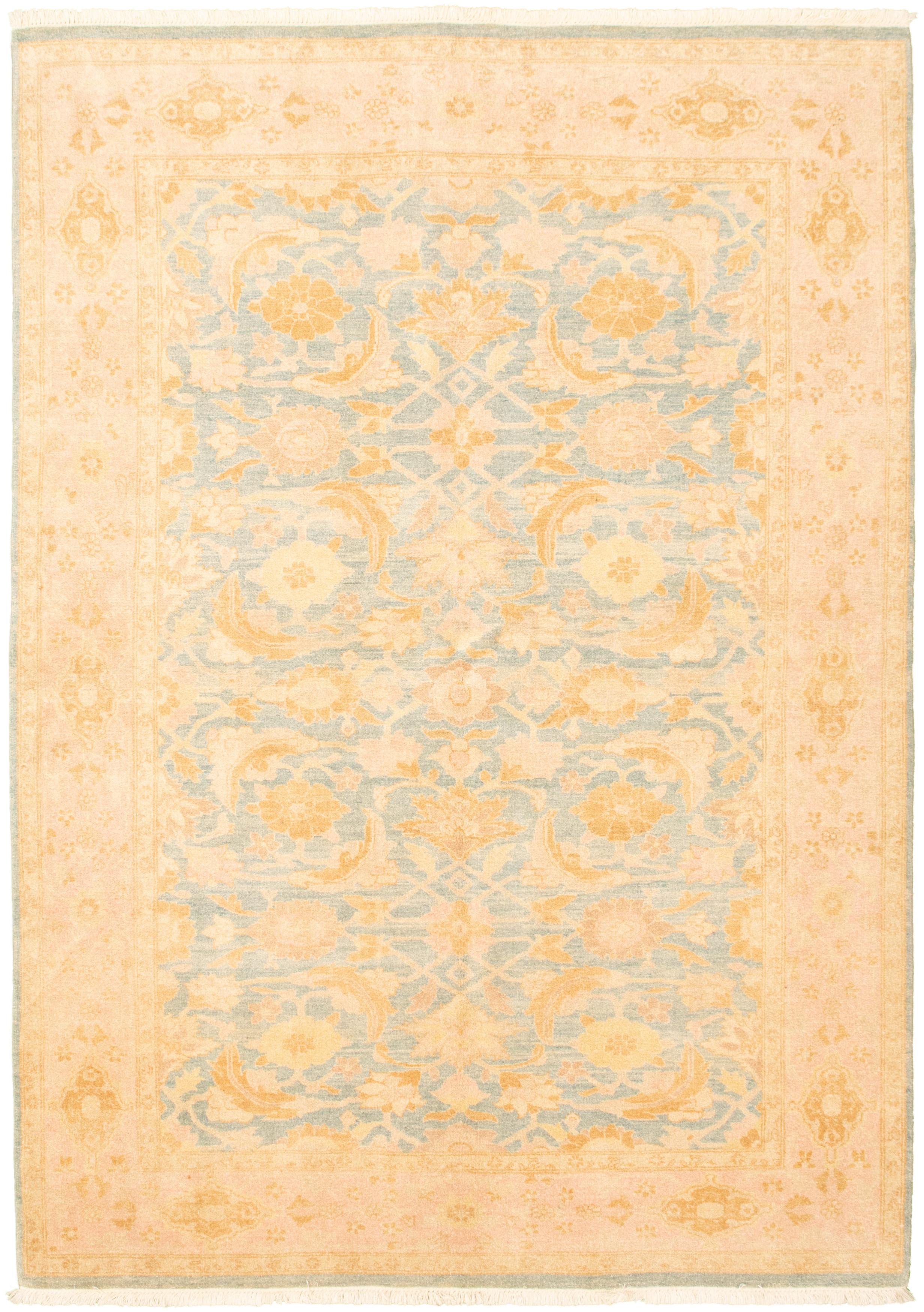"Hand-knotted Peshawar Oushak Light Blue  Wool Rug 6'2"" x 8'9"" Size: 6'2"" x 8'9"""