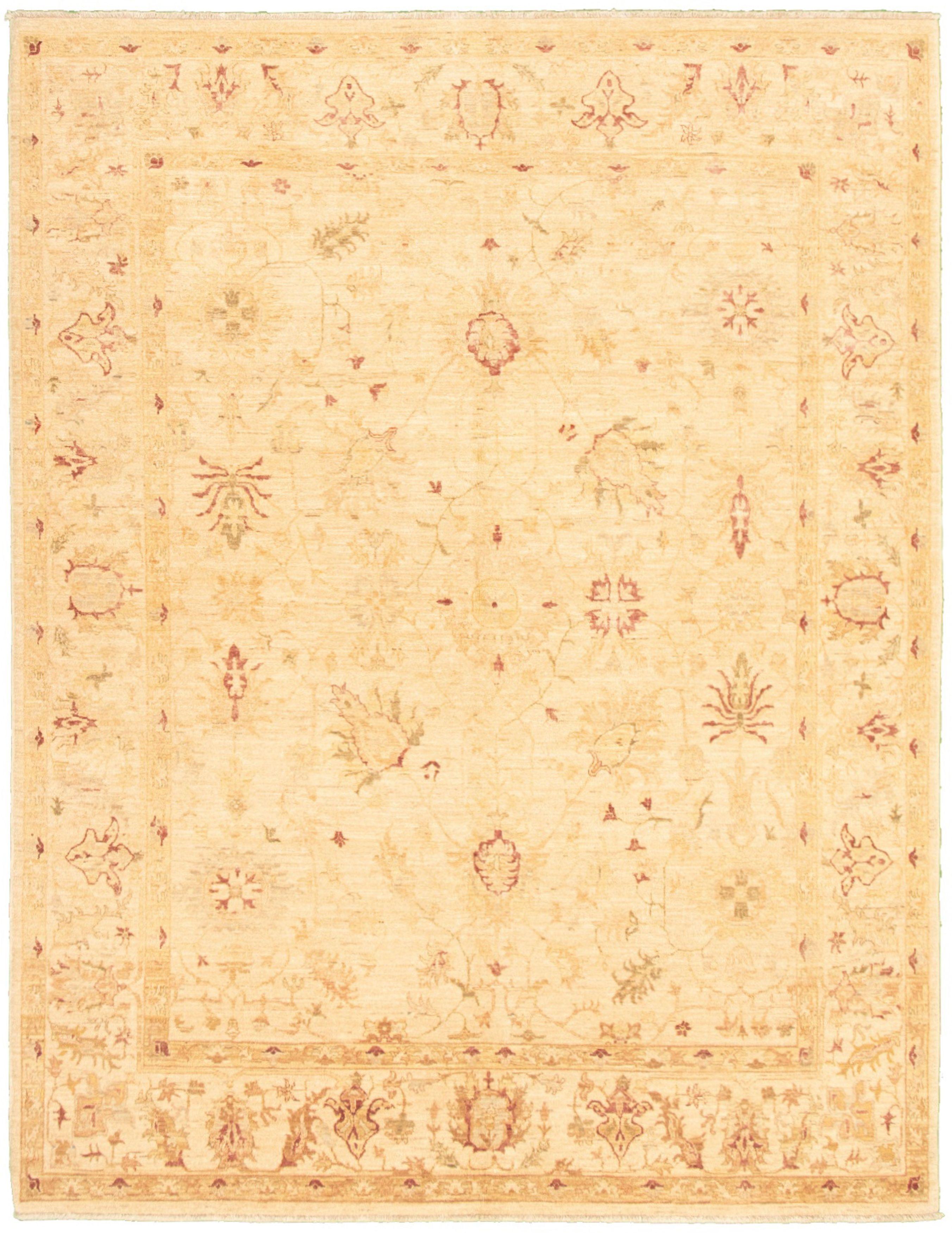 """Hand-knotted Peshawar Oushak Ivory Wool Rug 6'7"""" x 8'7"""" Size: 6'7"""" x 8'7"""""""