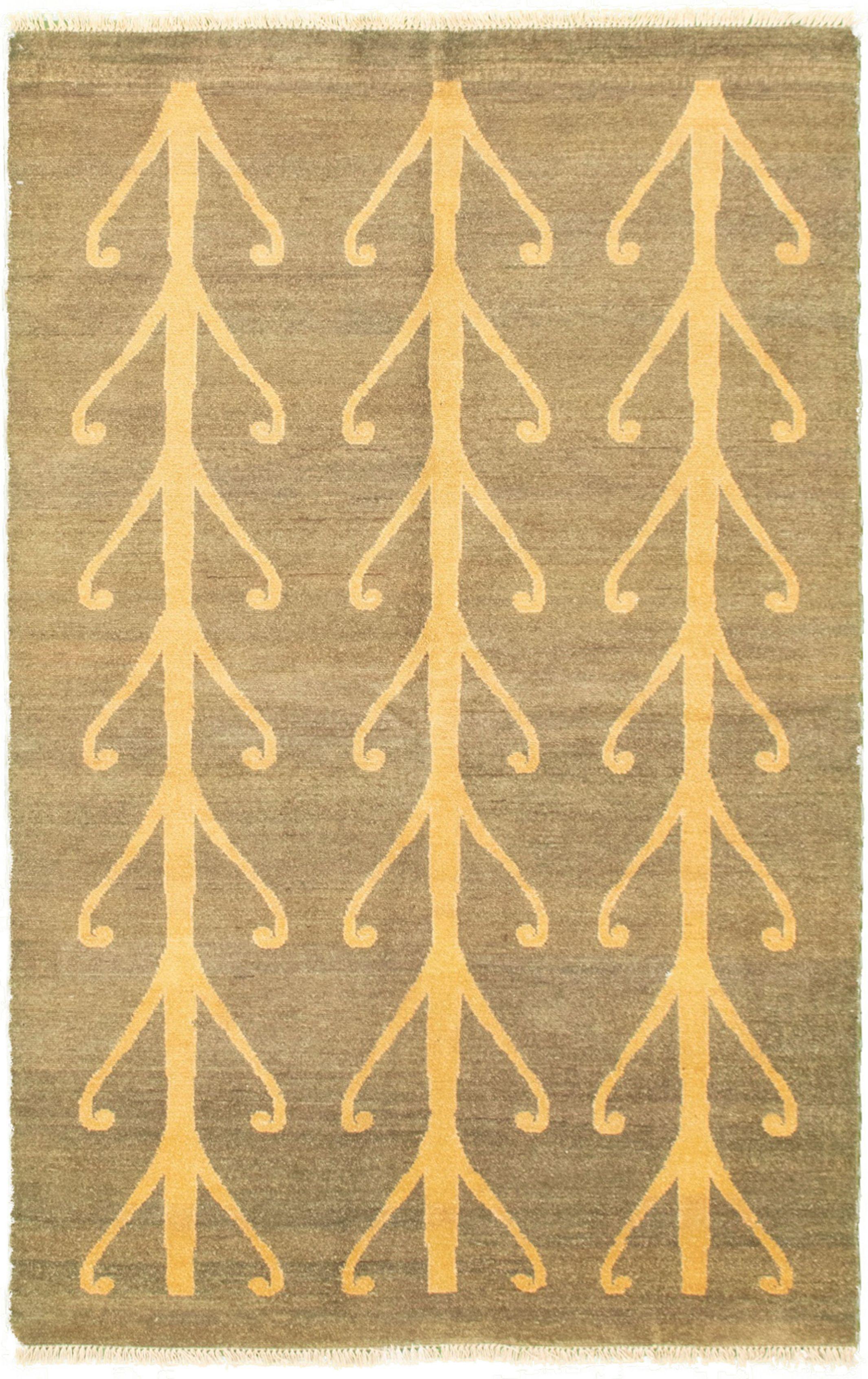 "Hand-knotted Peshawar Ziegler Light Orange, Teal Wool Rug 4'2"" x 6'8"" Size: 4'2"" x 6'8"""