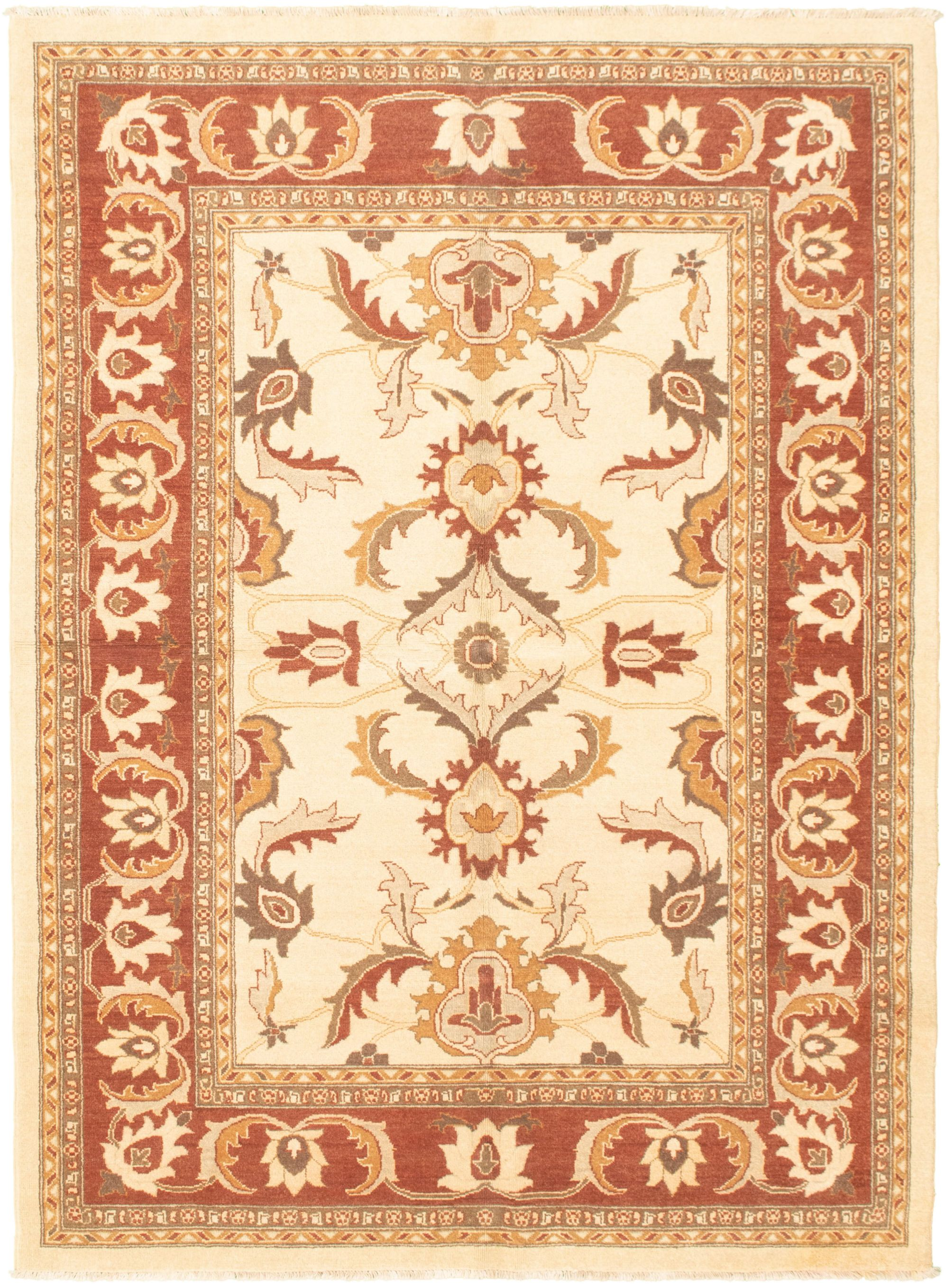 """Hand-knotted Chobi Finest Cream Wool Rug 6'1"""" x 9'3"""" Size: 6'1"""" x 9'3"""""""