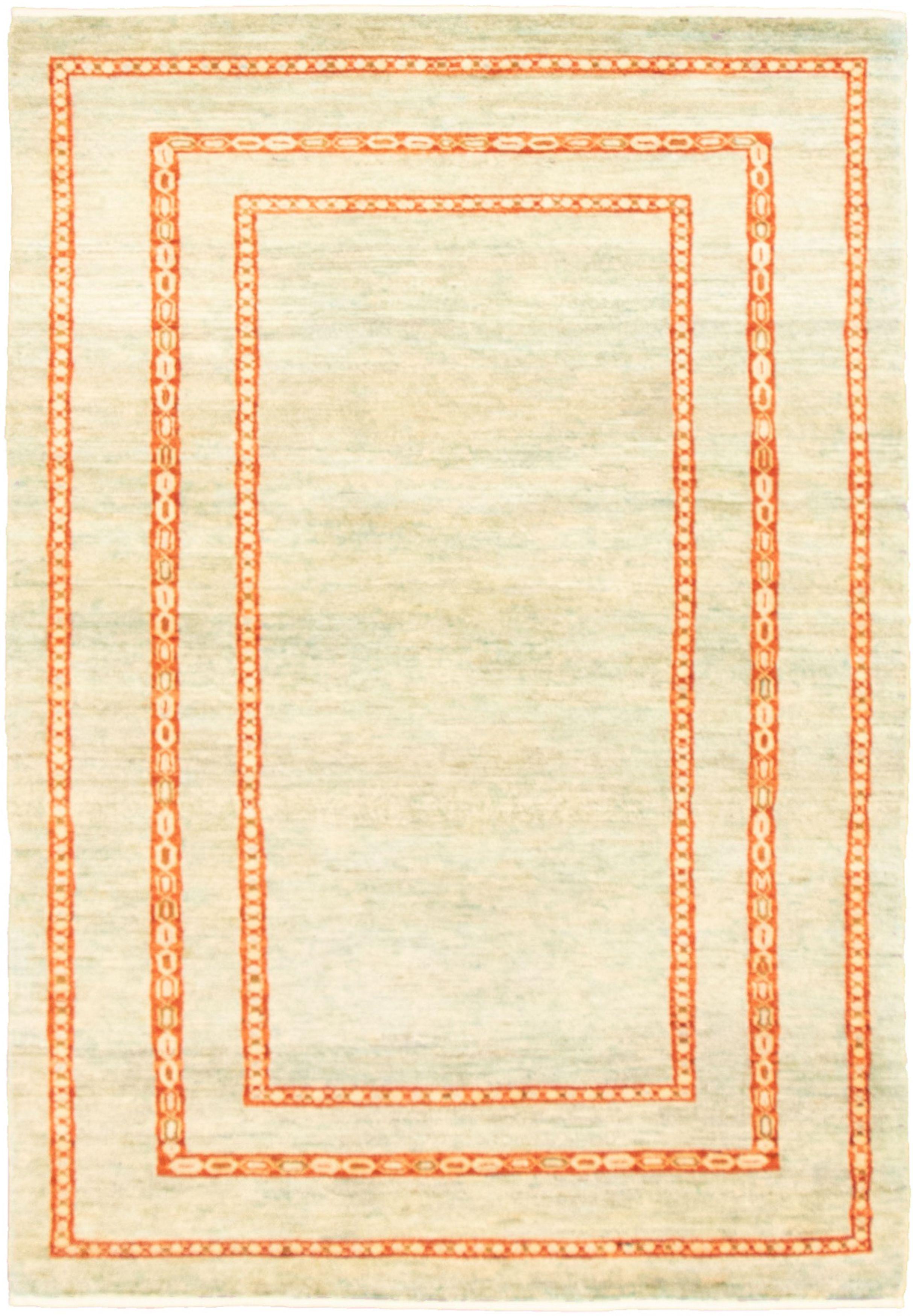 "Hand-knotted Peshawar Ziegler Light Blue  Wool Rug 4'2"" x 6'0"" Size: 4'2"" x 6'0"""