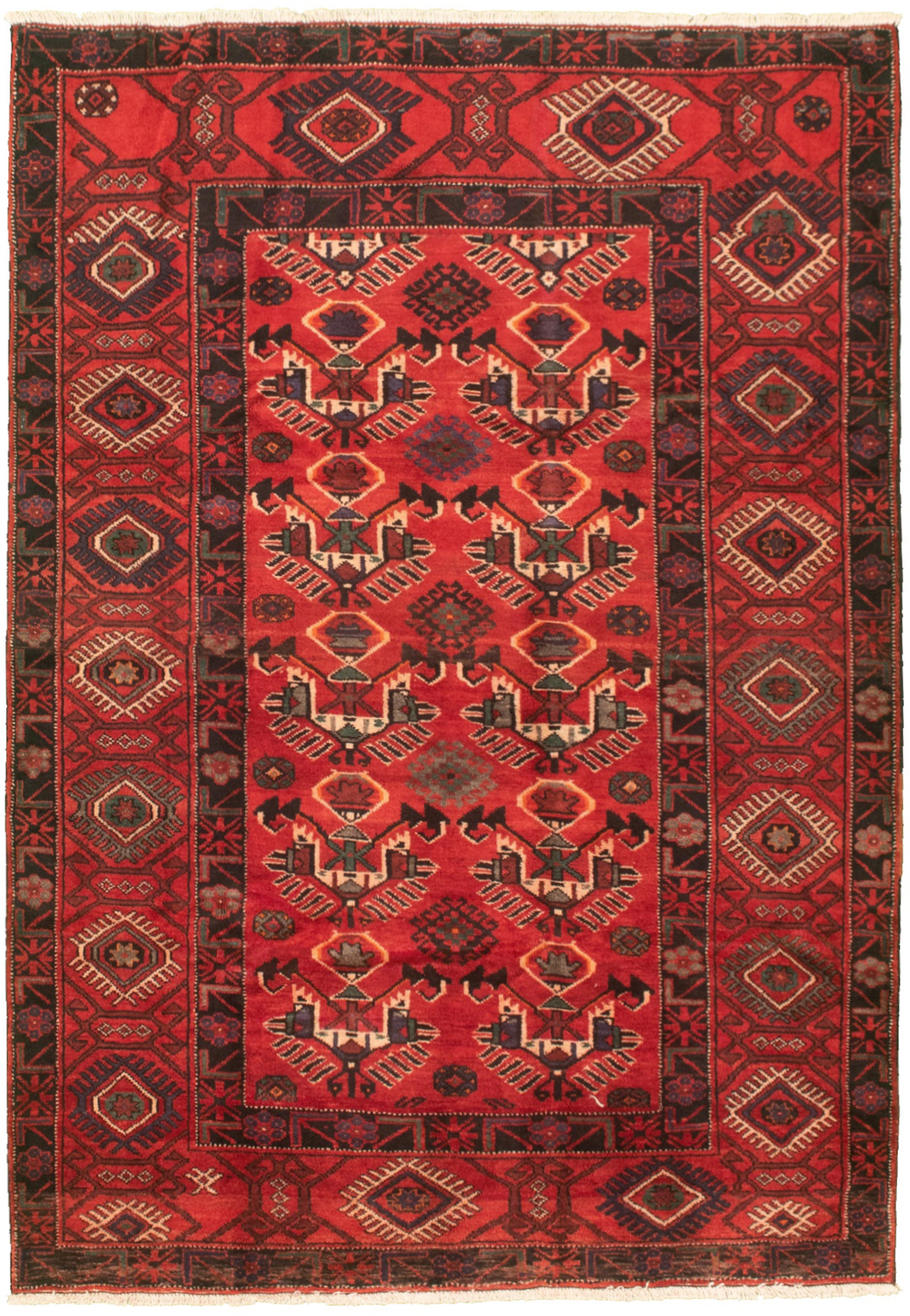 """Hand-knotted Authentic Turkish Red Wool Rug 5'2"""" x 7'8"""" Size: 5'2"""" x 7'8"""""""