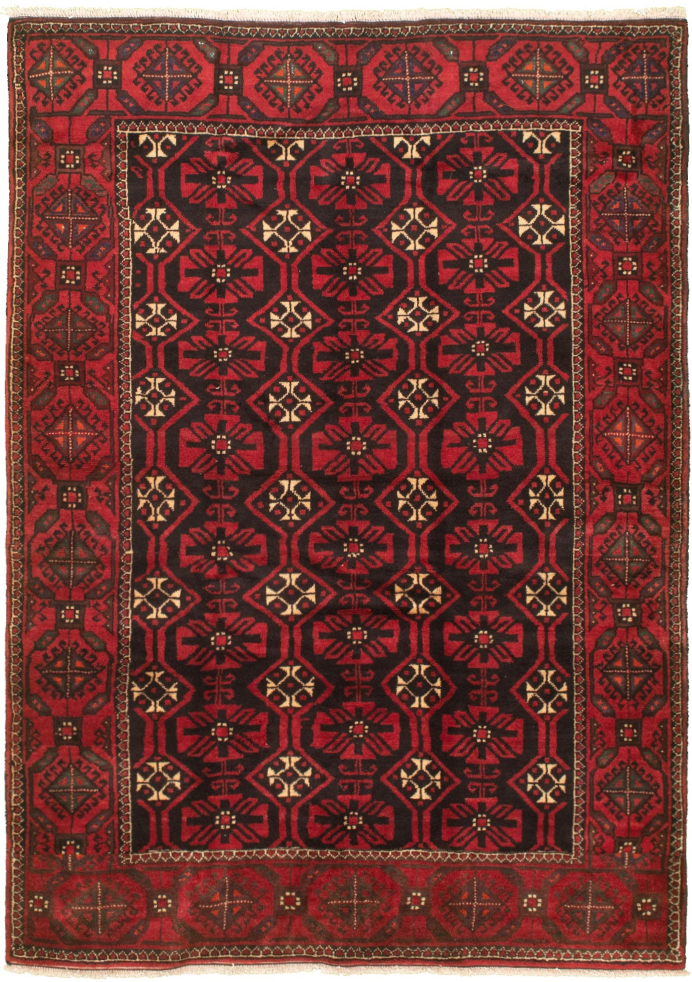 "Hand-knotted Authentic Turkish Black Wool Rug 5'0"" x 7'4"" Size: 5'0"" x 7'4"""