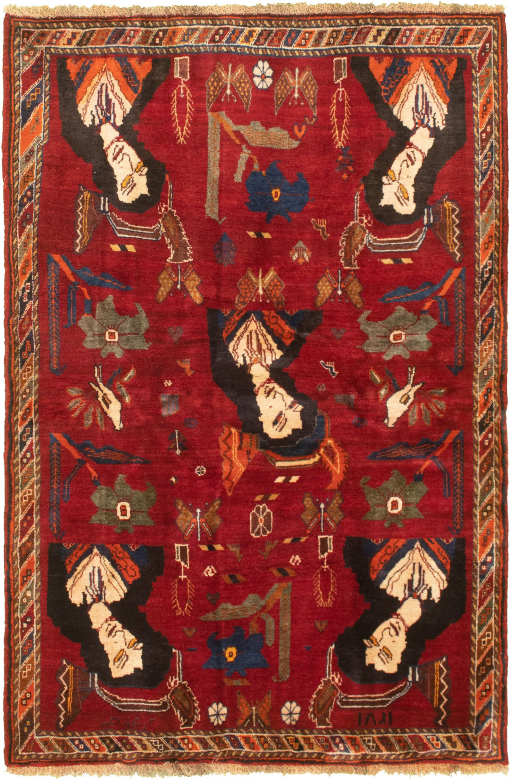 """Hand-knotted Authentic Turkish Red Wool Rug 4'2"""" x 6'9"""" Size: 4'2"""" x 6'9"""""""