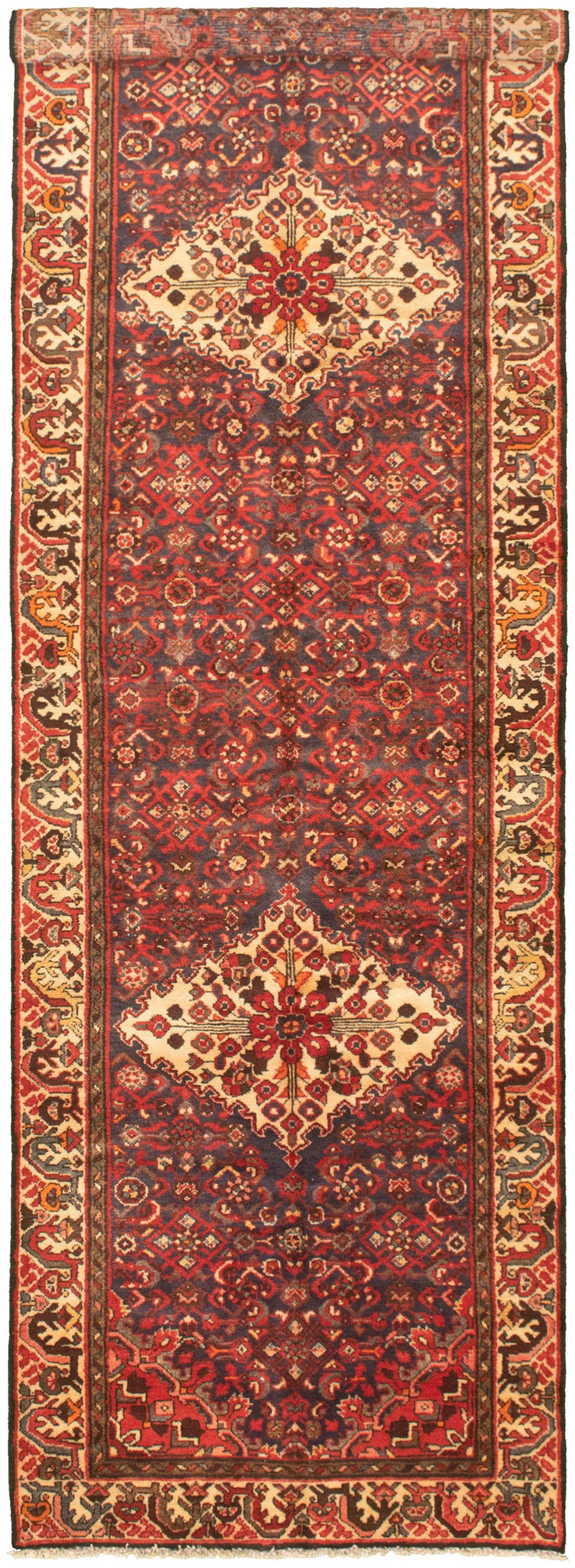 """Hand-knotted Authentic Turkish Navy Blue Wool Rug 3'2"""" x 10'10"""" Size: 3'2"""" x 10'10"""""""