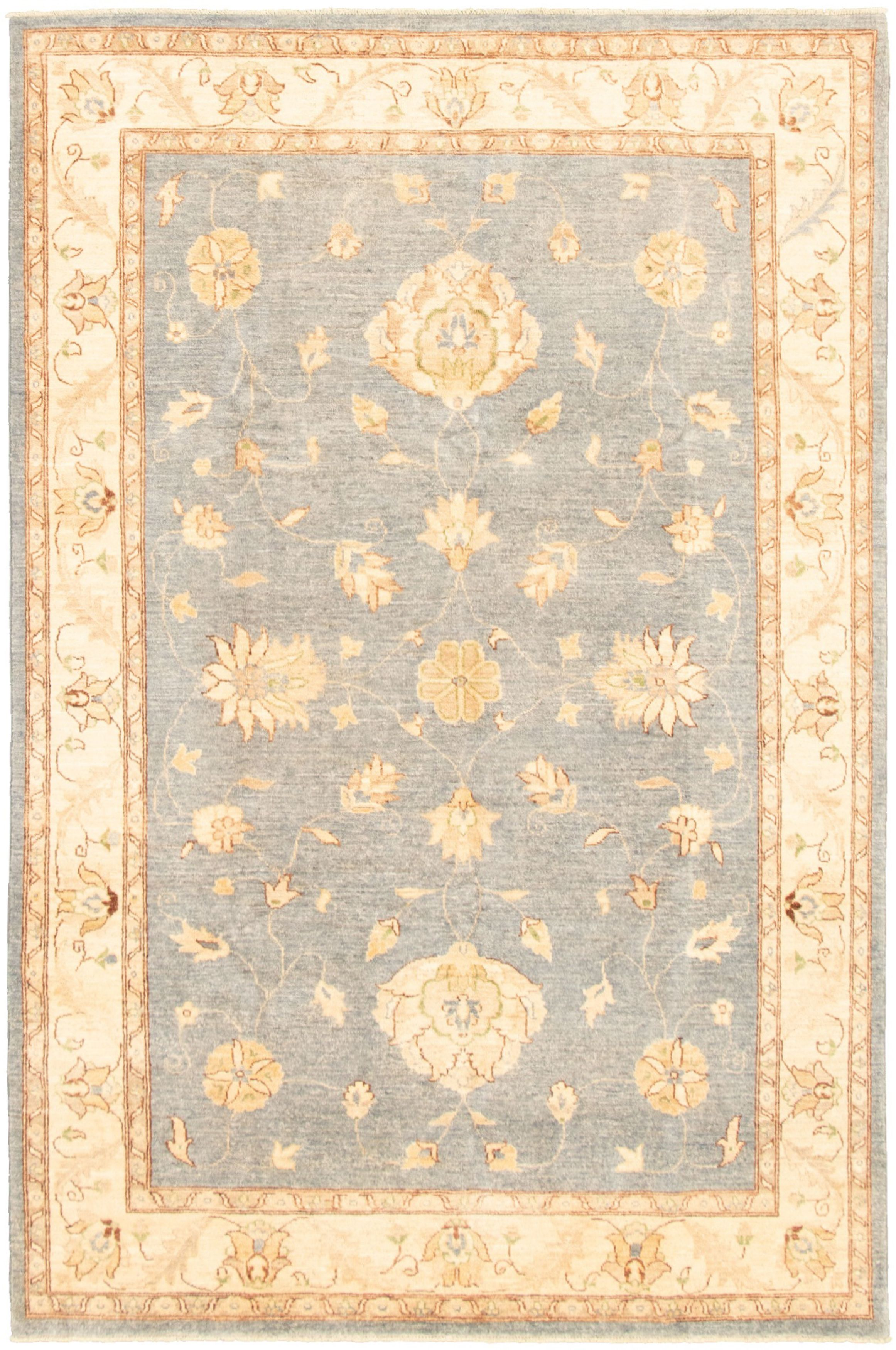 "Hand-knotted Peshawar Oushak Light Denim Blue,  Wool Rug 6'0"" x 9'1"" Size: 6'0"" x 9'1"""