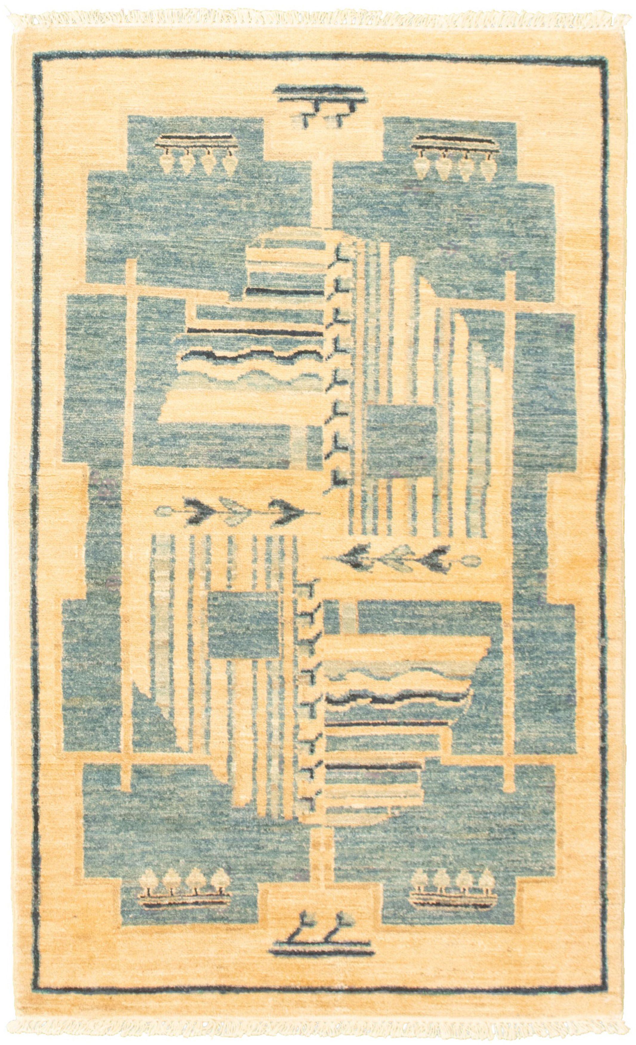 "Hand-knotted Peshawar Ziegler Cream Wool Rug 3'1"" x 5'3"" Size: 3'1"" x 5'3"""