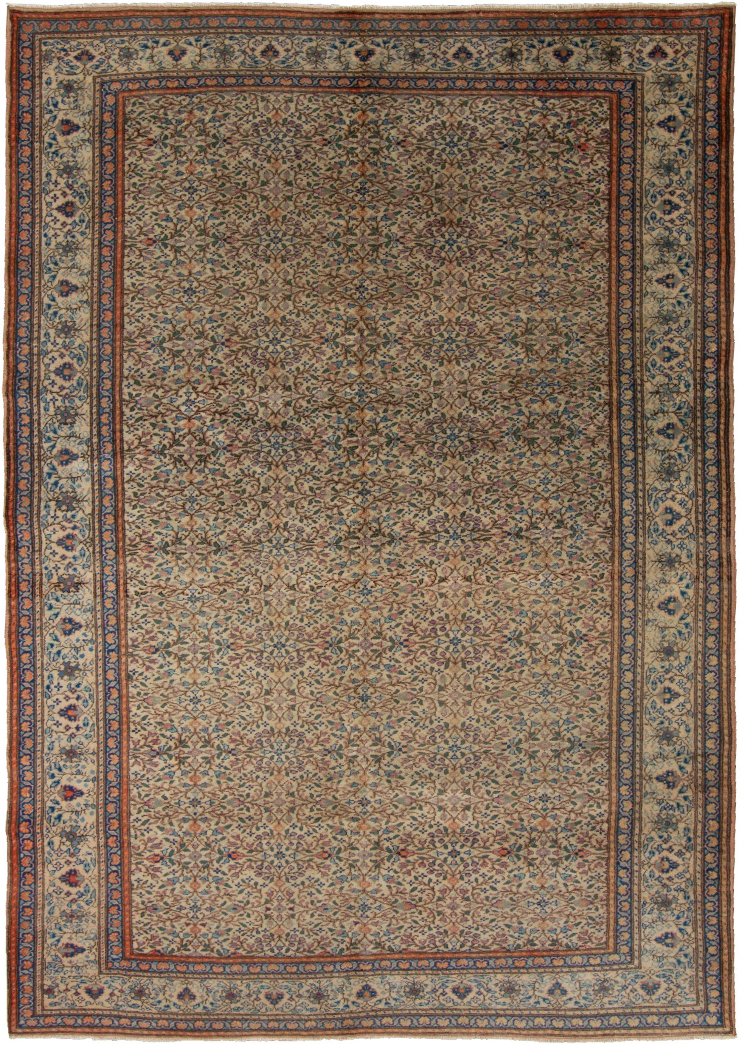 """Hand-knotted Keisari Vintage Blue, Ivory  Rug 6'5"""" x 9'8""""  Size: 6'5"""" x 9'8"""""""