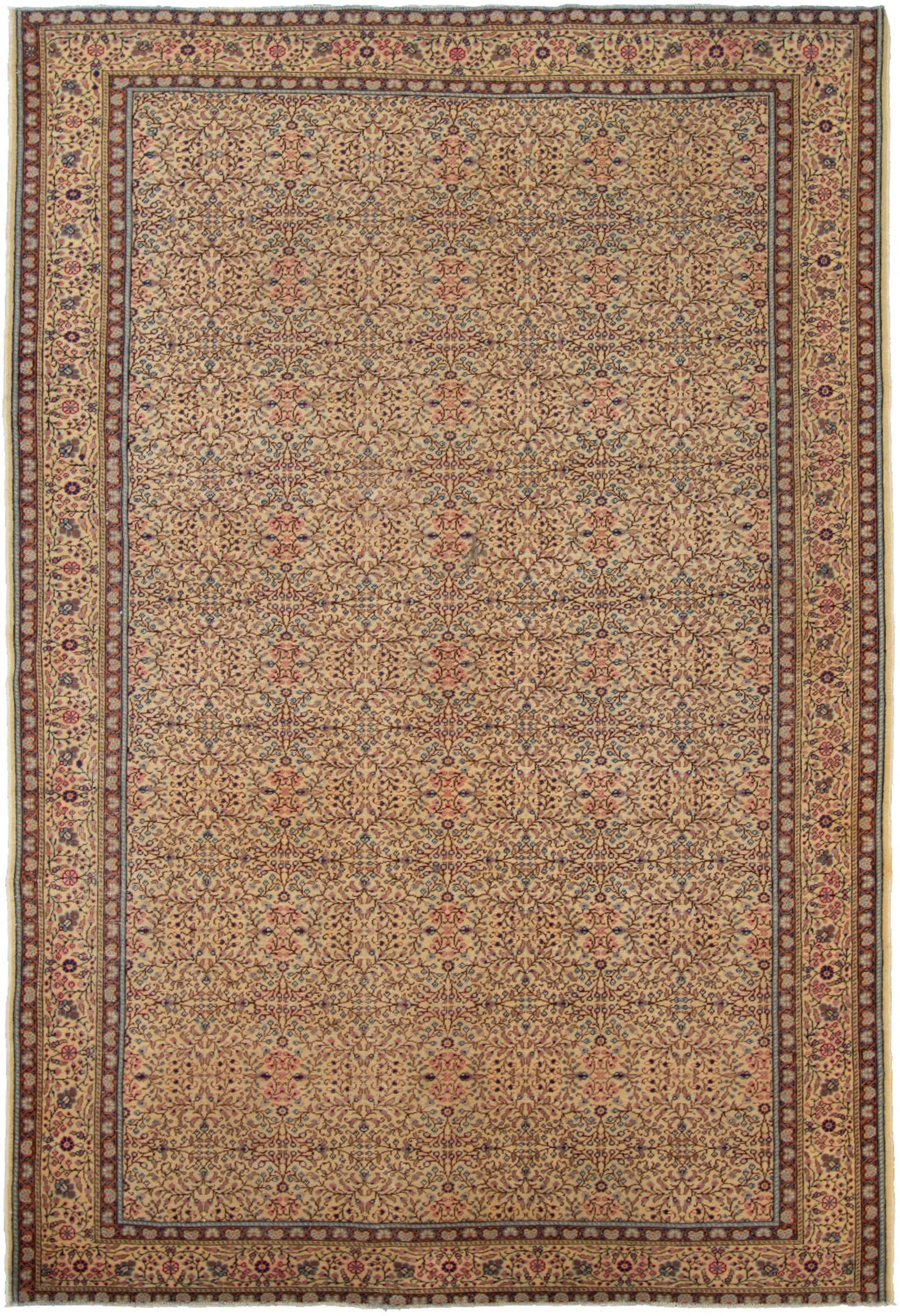 """Hand-knotted Keisari Vintage Blue, Ivory  Rug 6'7"""" x 9'8"""" Size: 6'7"""" x 9'8"""""""