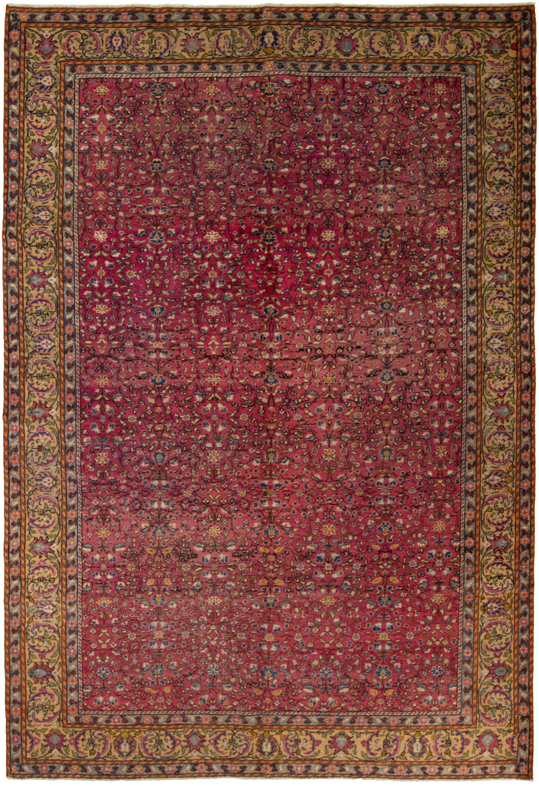 """Hand-knotted Keisari Vintage Ivory, Red  Rug 6'4"""" x 9'6"""" Size: 6'4"""" x 9'6"""""""