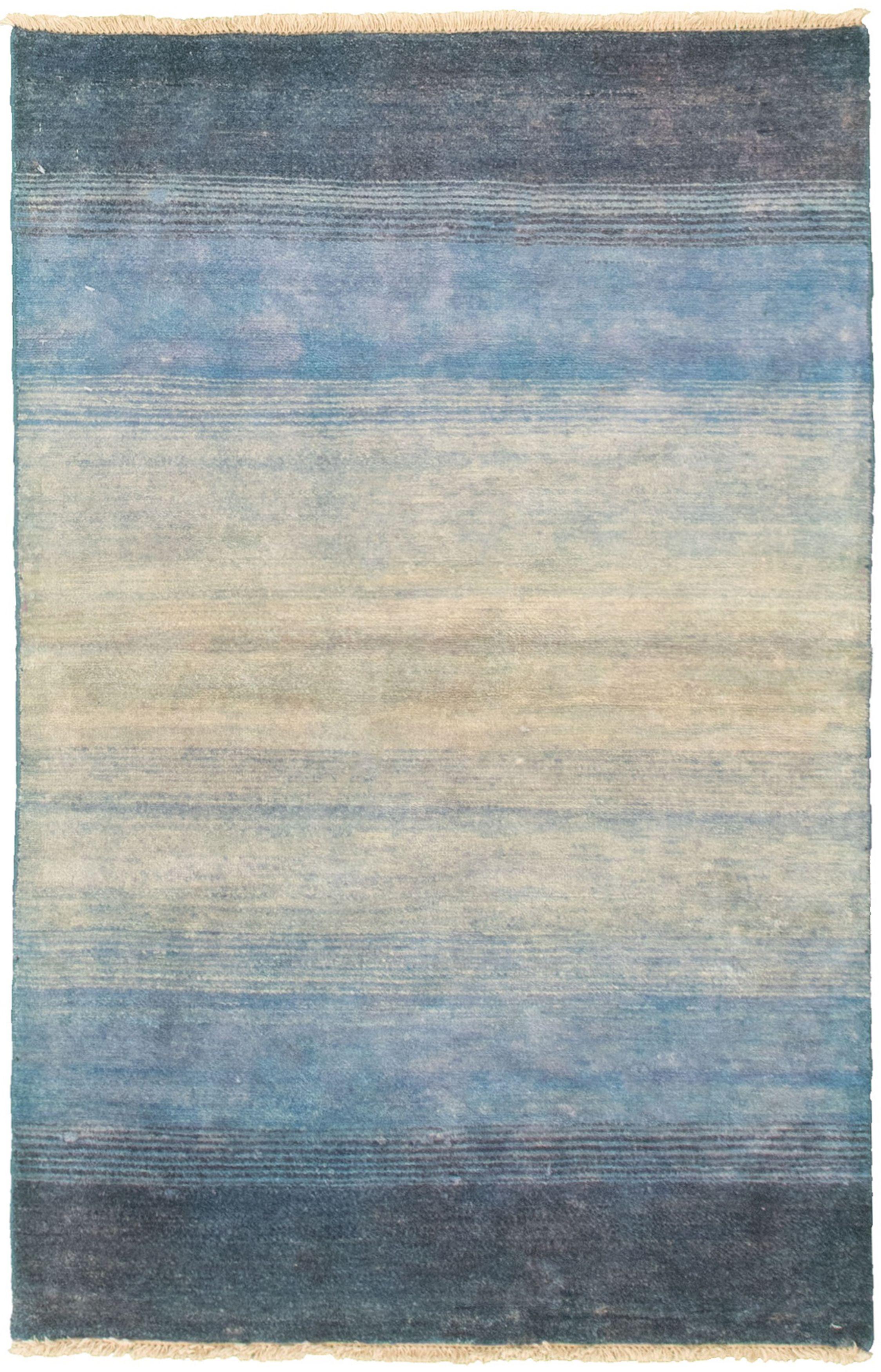 "Hand-knotted Peshawar Ziegler Blue, Cream Wool Rug 3'1"" x 4'9"" Size: 3'1"" x 4'9"""