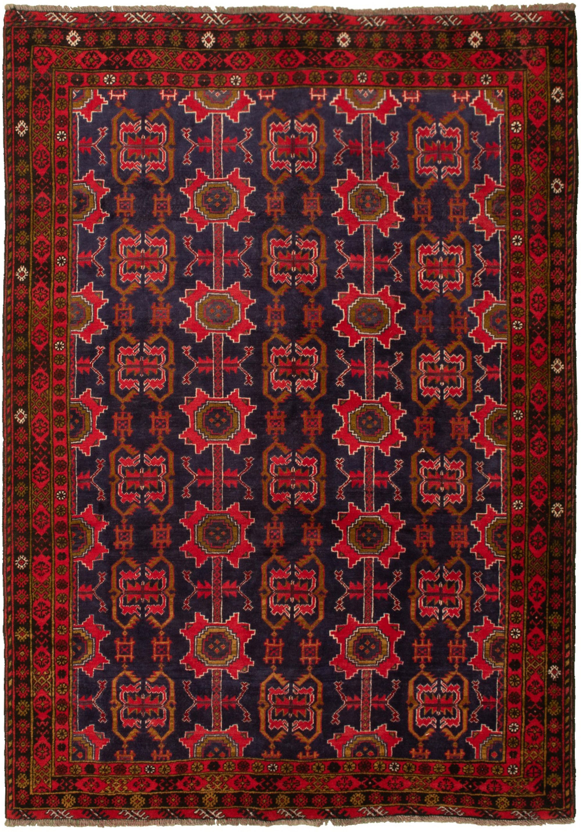 """Hand-knotted Authentic Turkish Navy Blue Wool Rug 6'6"""" x 9'5"""" Size: 6'6"""" x 9'5"""""""