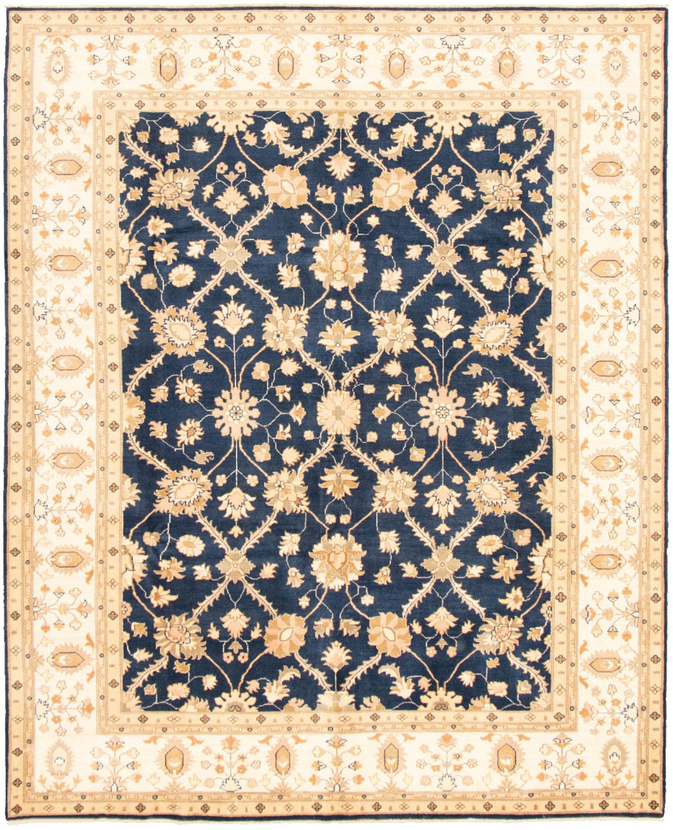 "Hand-knotted Peshawar Oushak Dark Blue Wool Rug 8'3"" x 10'0"" Size: 8'3"" x 10'0"""
