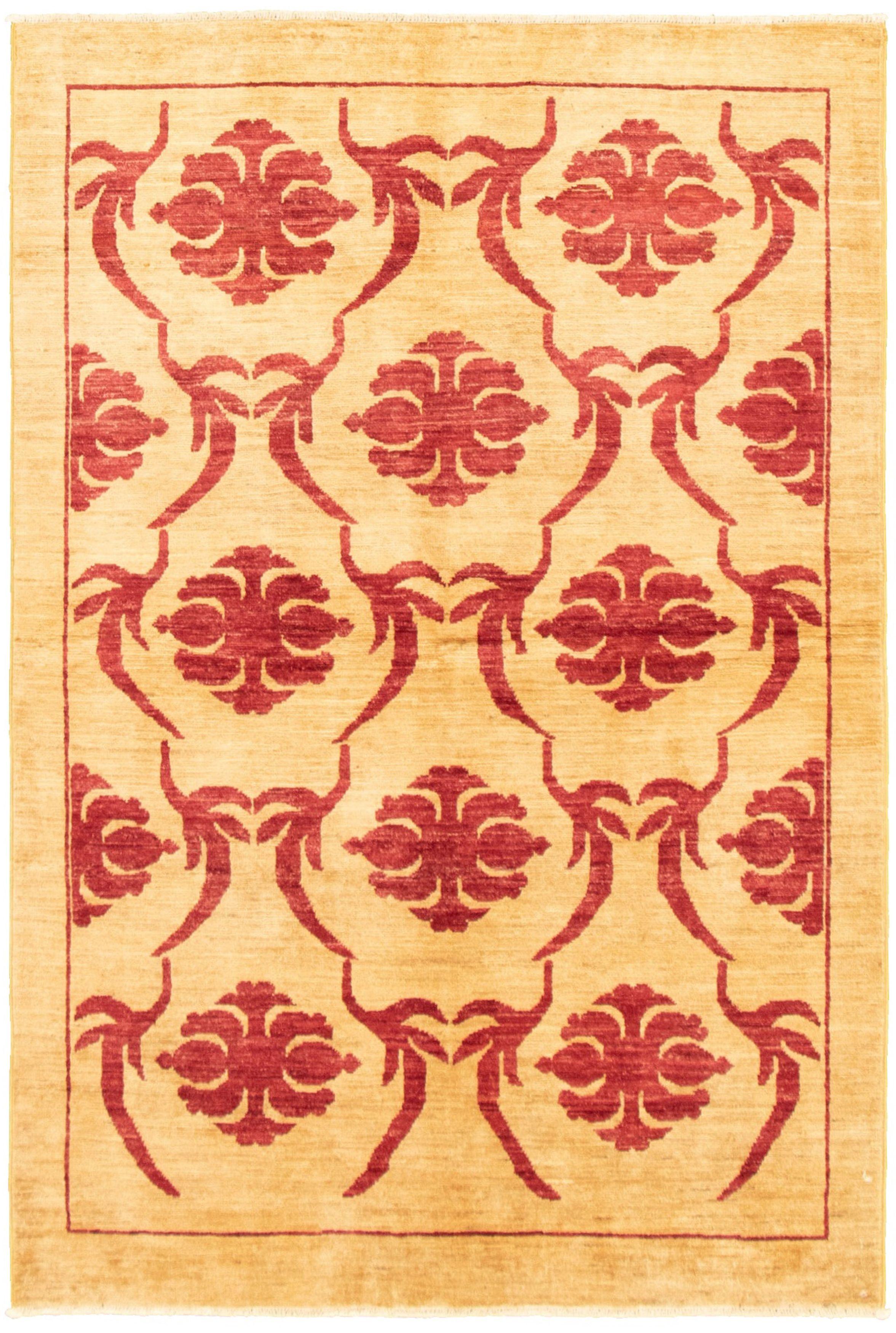 "Hand-knotted Peshawar Ziegler Tan Wool Rug 3'9"" x 5'9"" Size: 3'9"" x 5'9"""