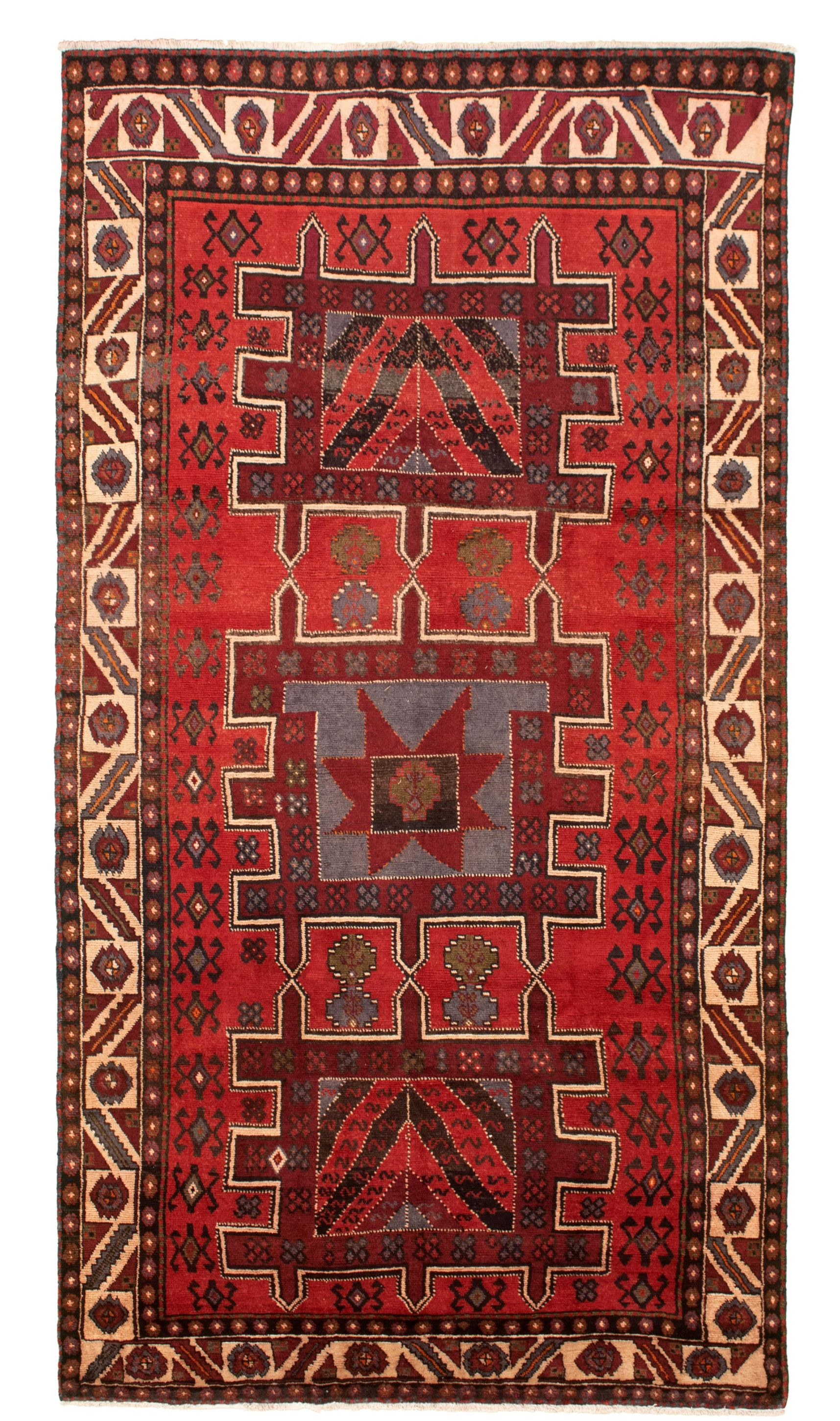 """Hand-knotted Authentic Turkish Red Wool Rug 5'1"""" x 9'9"""" Size: 5'1"""" x 9'9"""""""