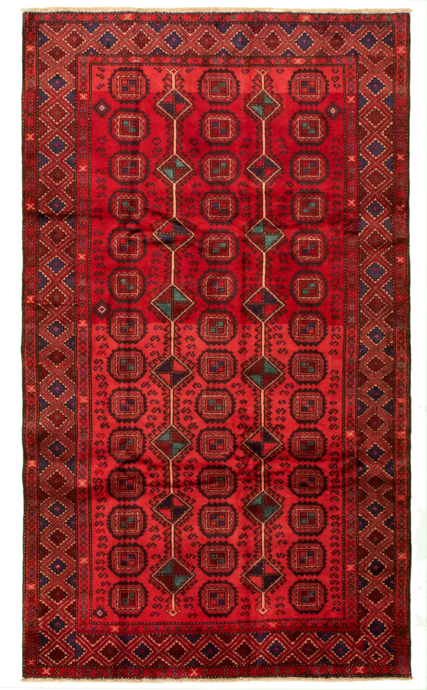"""Hand-knotted Authentic Turkish Red Wool Rug 5'6"""" x 9'9"""" Size: 5'6"""" x 9'9"""""""