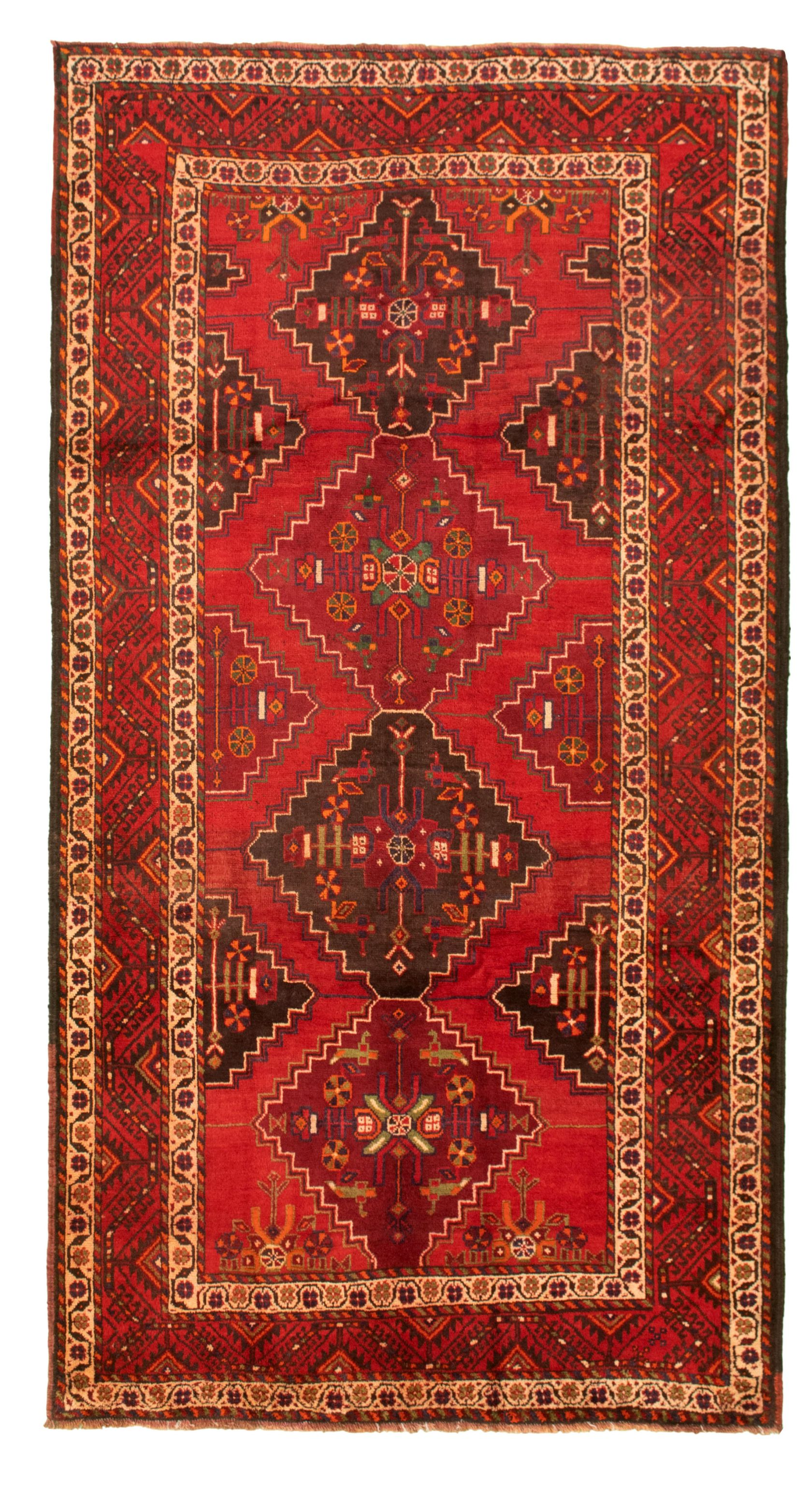 """Hand-knotted Authentic Turkish Red Wool Rug 5'0"""" x 9'9""""  Size: 5'0"""" x 9'9"""""""