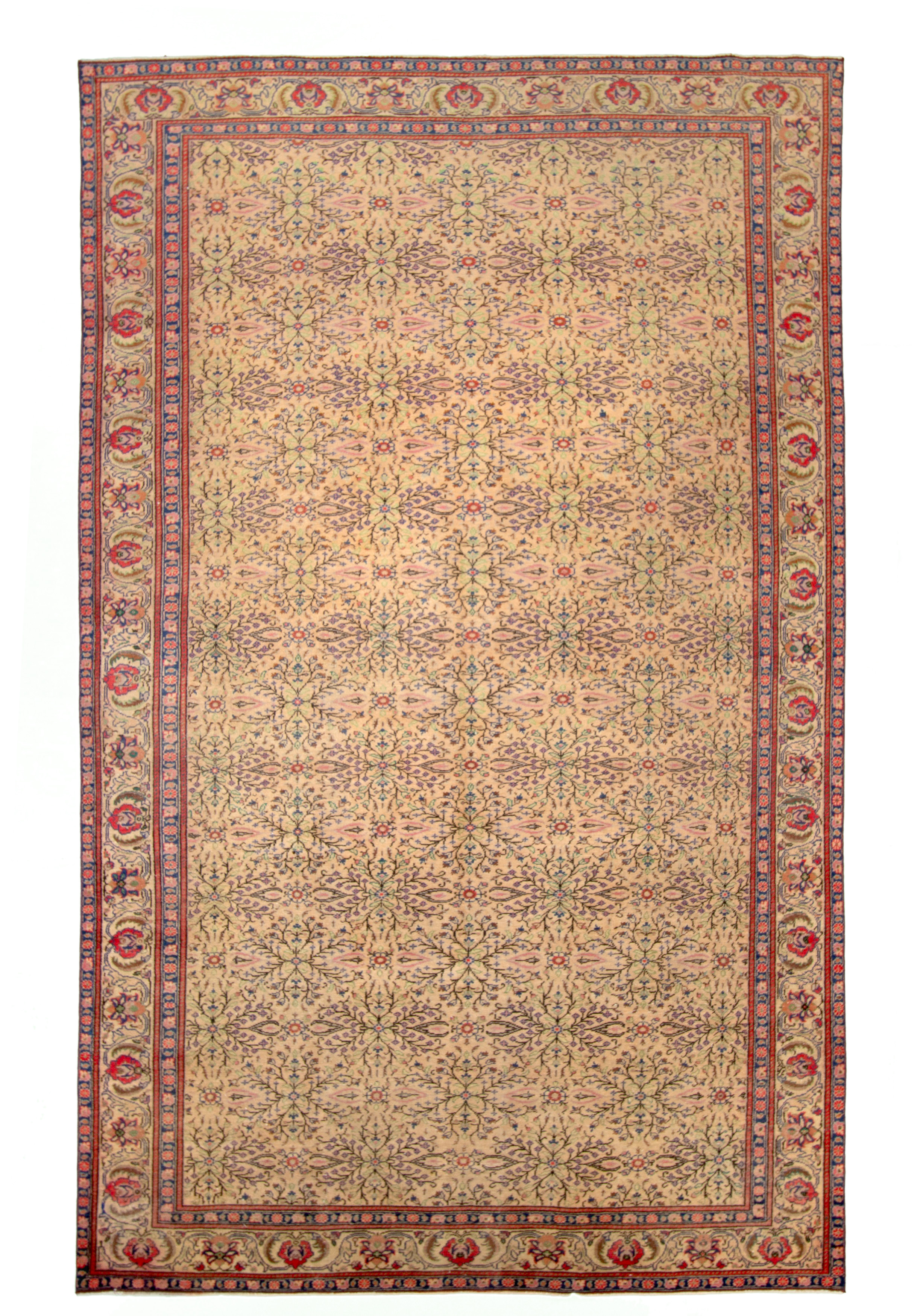 """Hand-knotted Keisari Vintage Ivory, Red  Rug 6'3"""" x 9'8"""" Size: 6'3"""" x 9'8"""""""