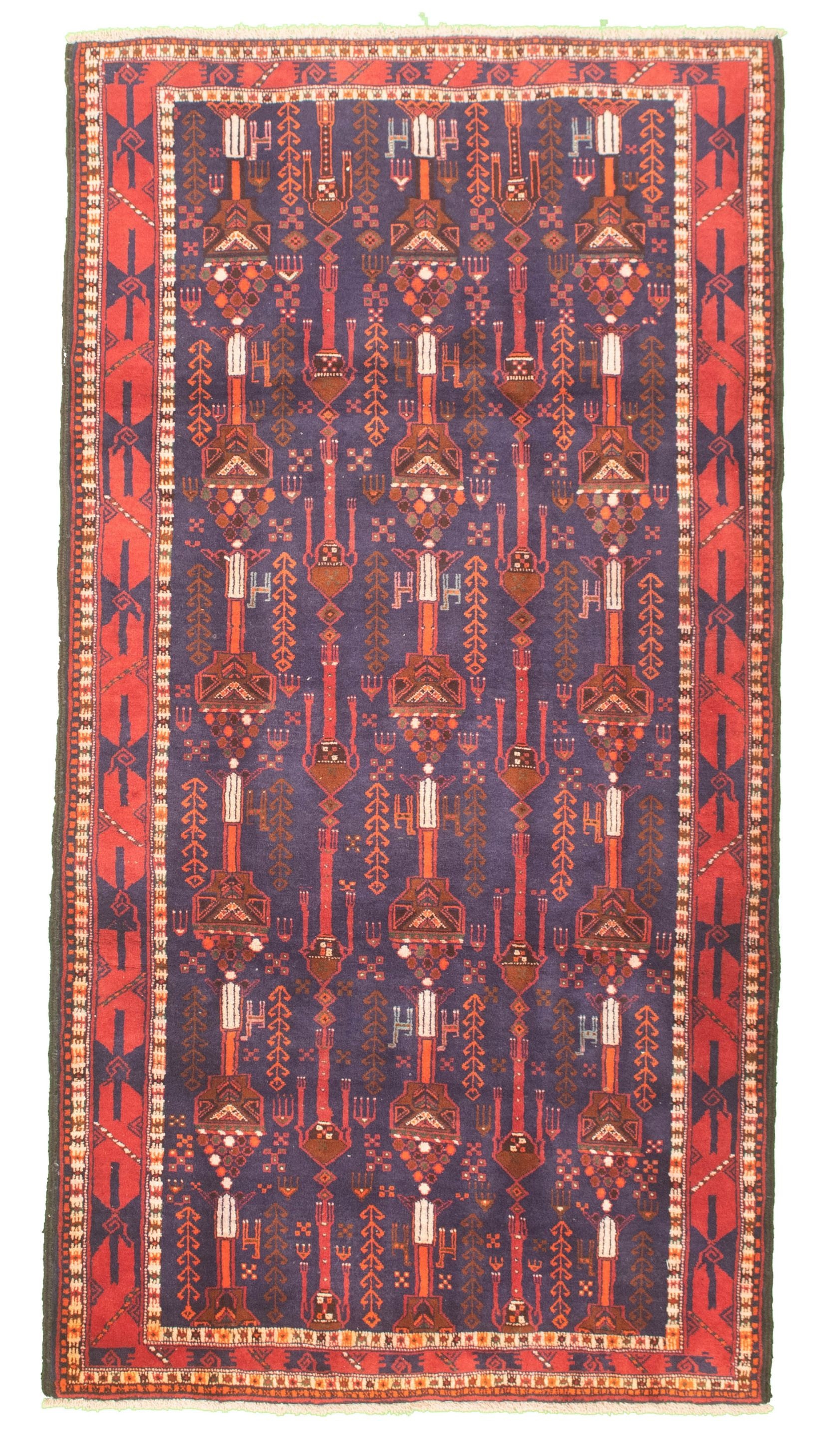 """Hand-knotted Authentic Turkish Dark Blue Wool Rug 4'4"""" x 8'8"""" Size: 4'4"""" x 8'8"""""""