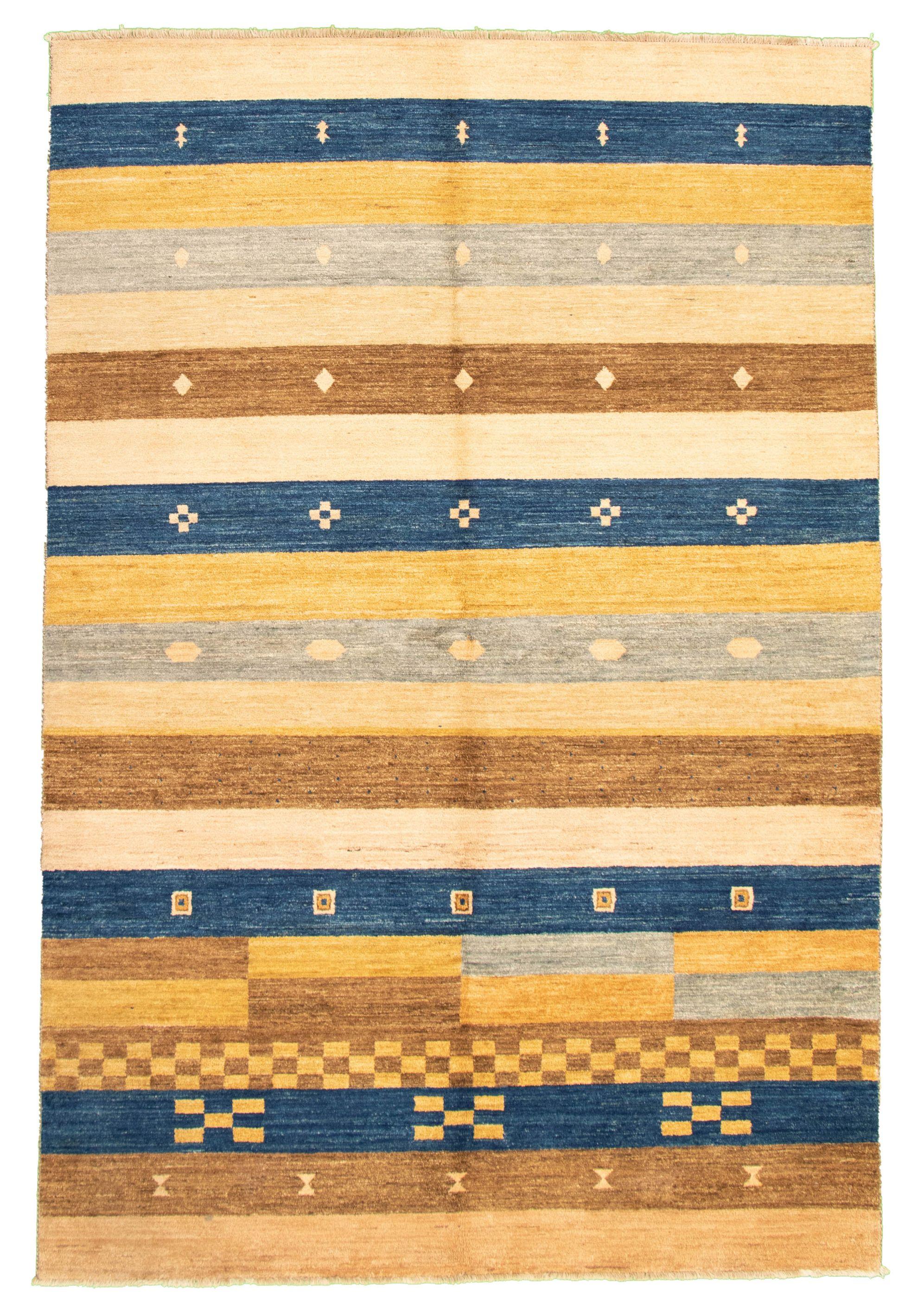 """Hand-knotted Peshawar Ziegler Beige, Navy Blue Wool Rug 6'5"""" x 9'7"""" Size: 6'5"""" x 9'7"""""""