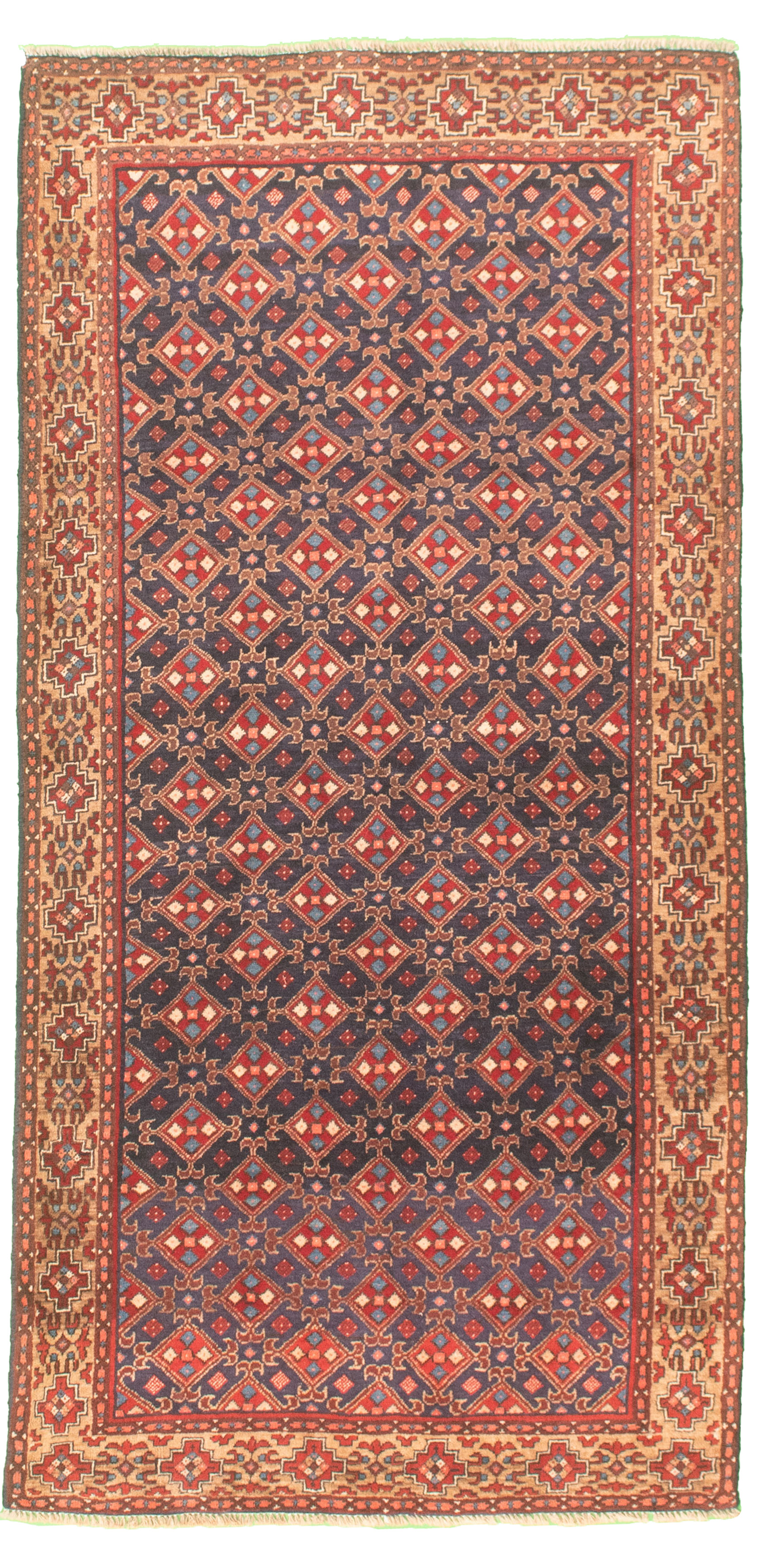 """Hand-knotted Authentic Turkish Dark Blue Wool Rug 3'1"""" x 6'5"""" Size: 3'1"""" x 6'5"""""""