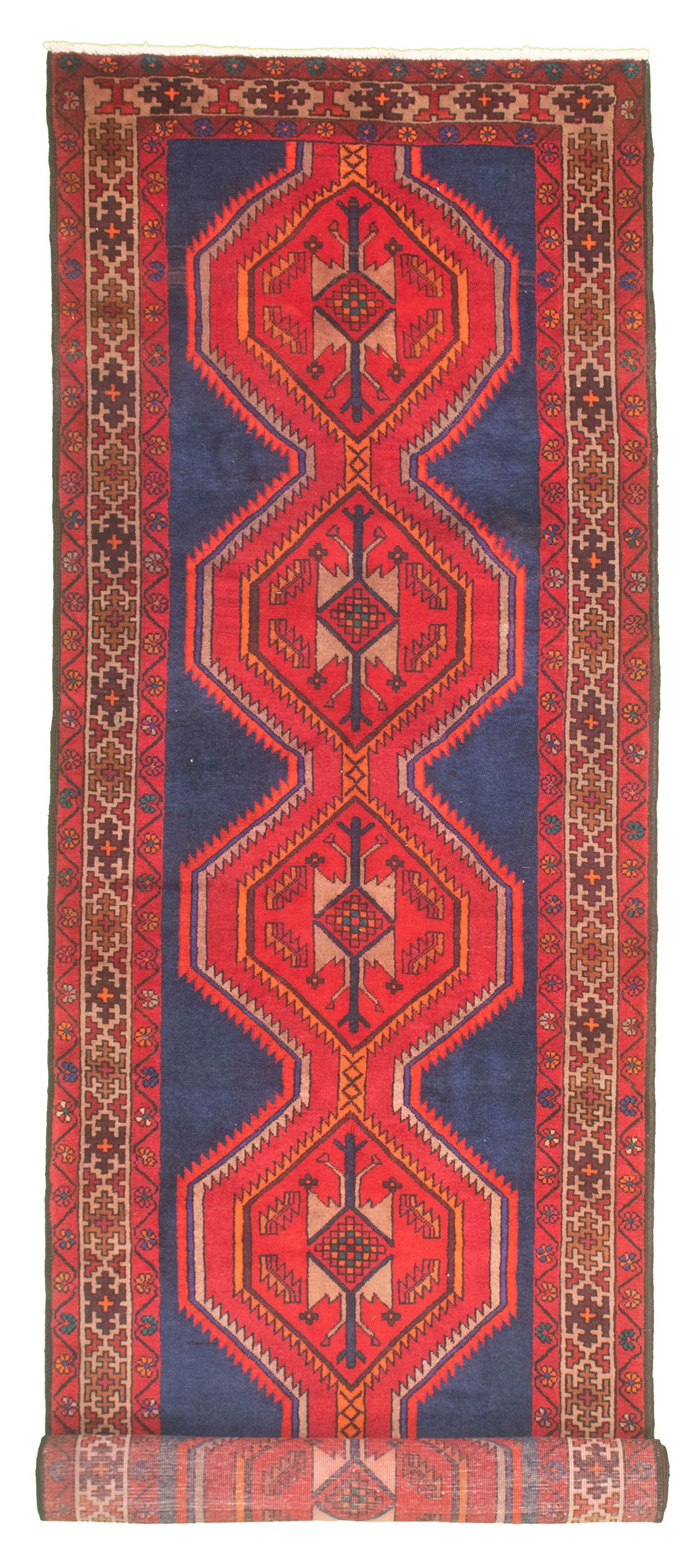 """Hand-knotted Authentic Turkish Dark Blue, Red Wool Rug 3'5"""" x 33'5"""" Size: 3'5"""" x 33'5"""""""