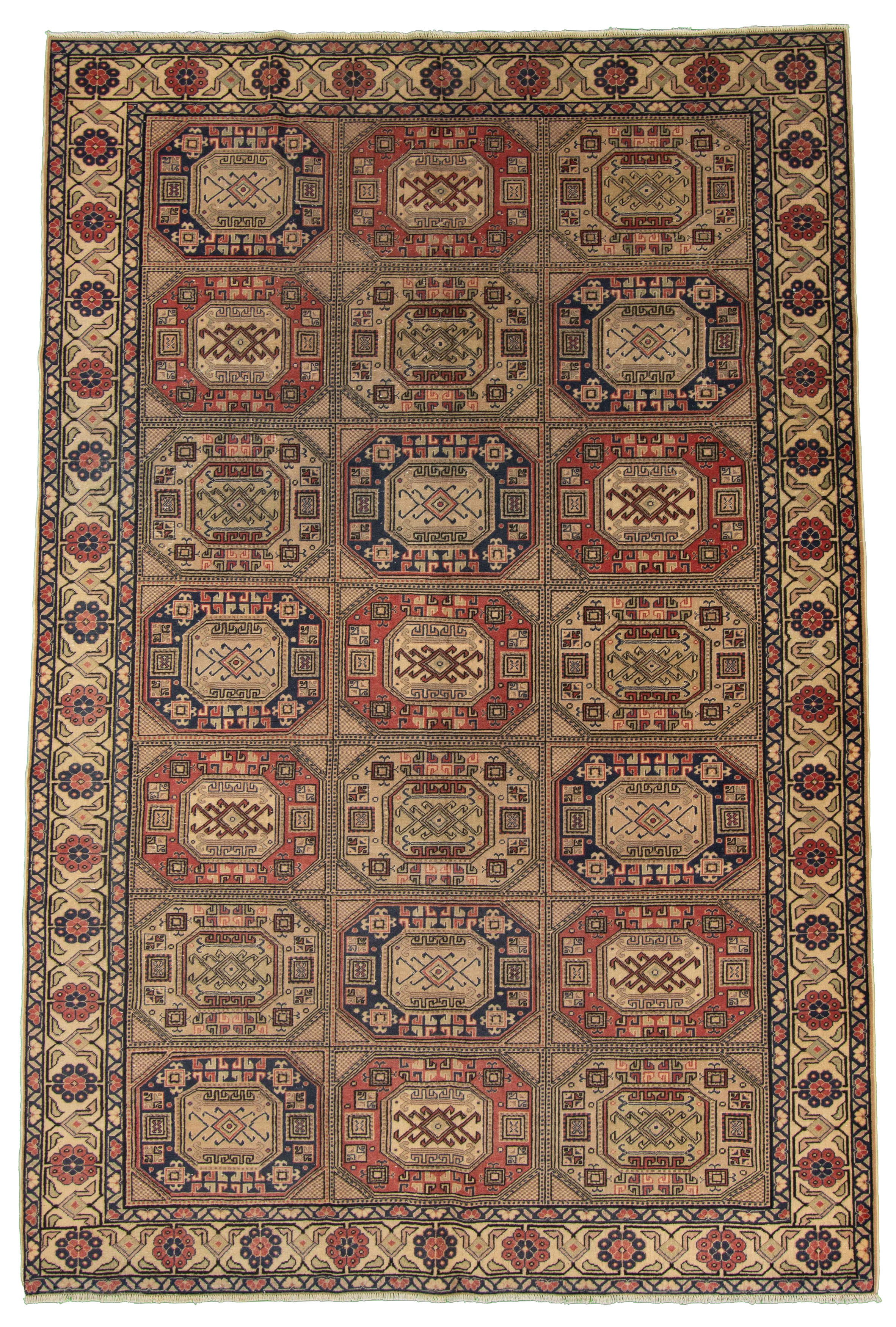 """Hand-knotted Keisari Vintage Blue, Ivory  Rug 6'7"""" x 9'9"""" Size: 6'7"""" x 9'9"""""""