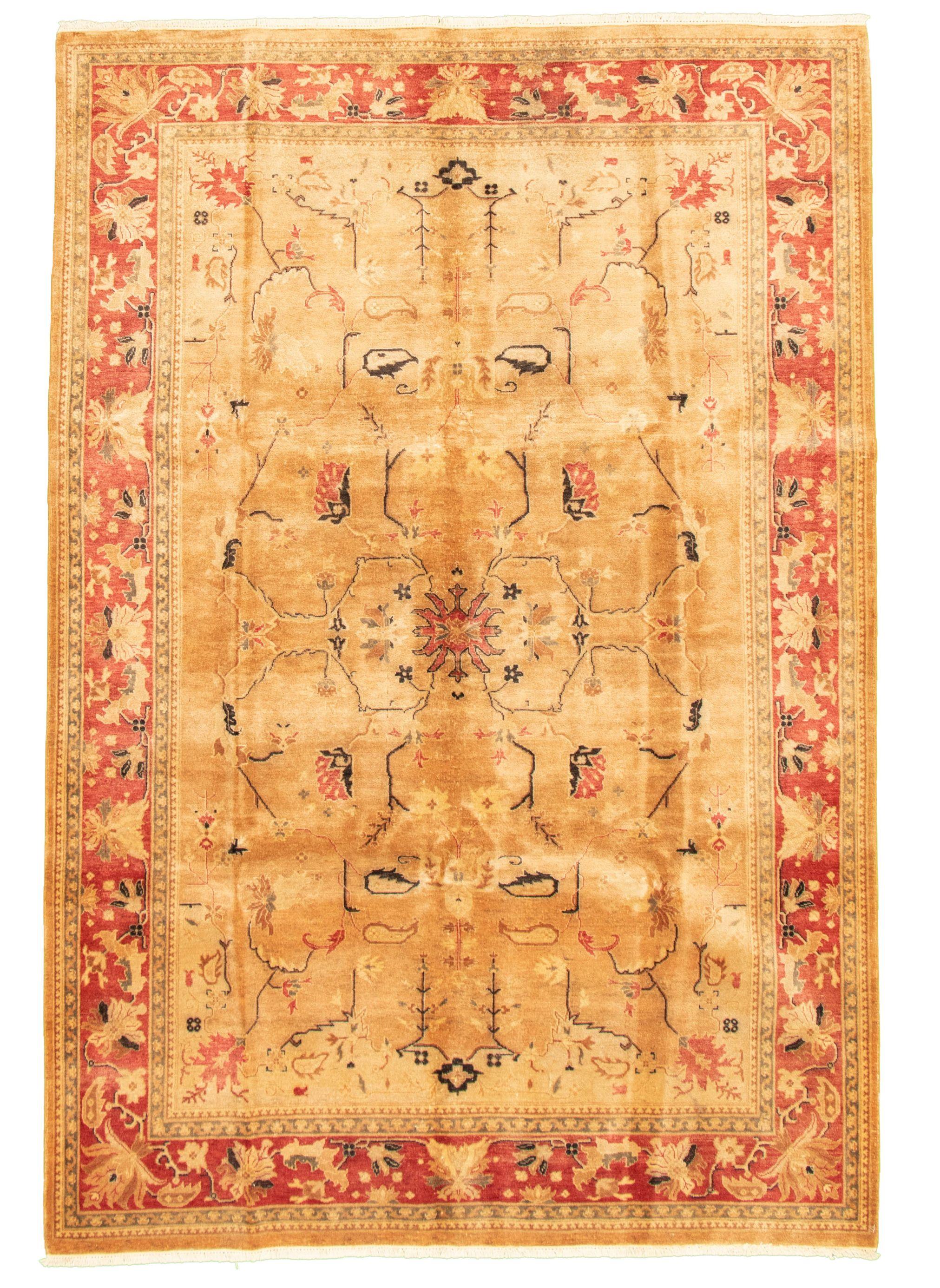 "Hand-knotted Peshawar Oushak Tan Wool Rug 6'1"" x 8'10"" Size: 6'1"" x 8'10"""
