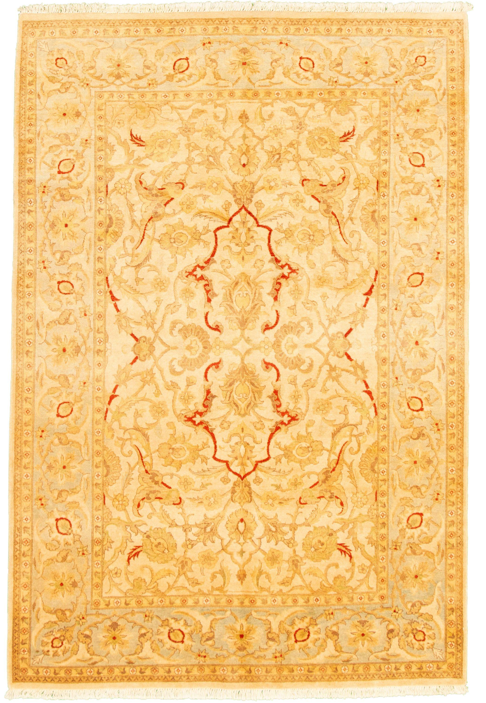 """Hand-knotted Peshawar Oushak Ivory Wool Rug 6'0"""" x 9'1""""  Size: 6'0"""" x 9'1"""""""