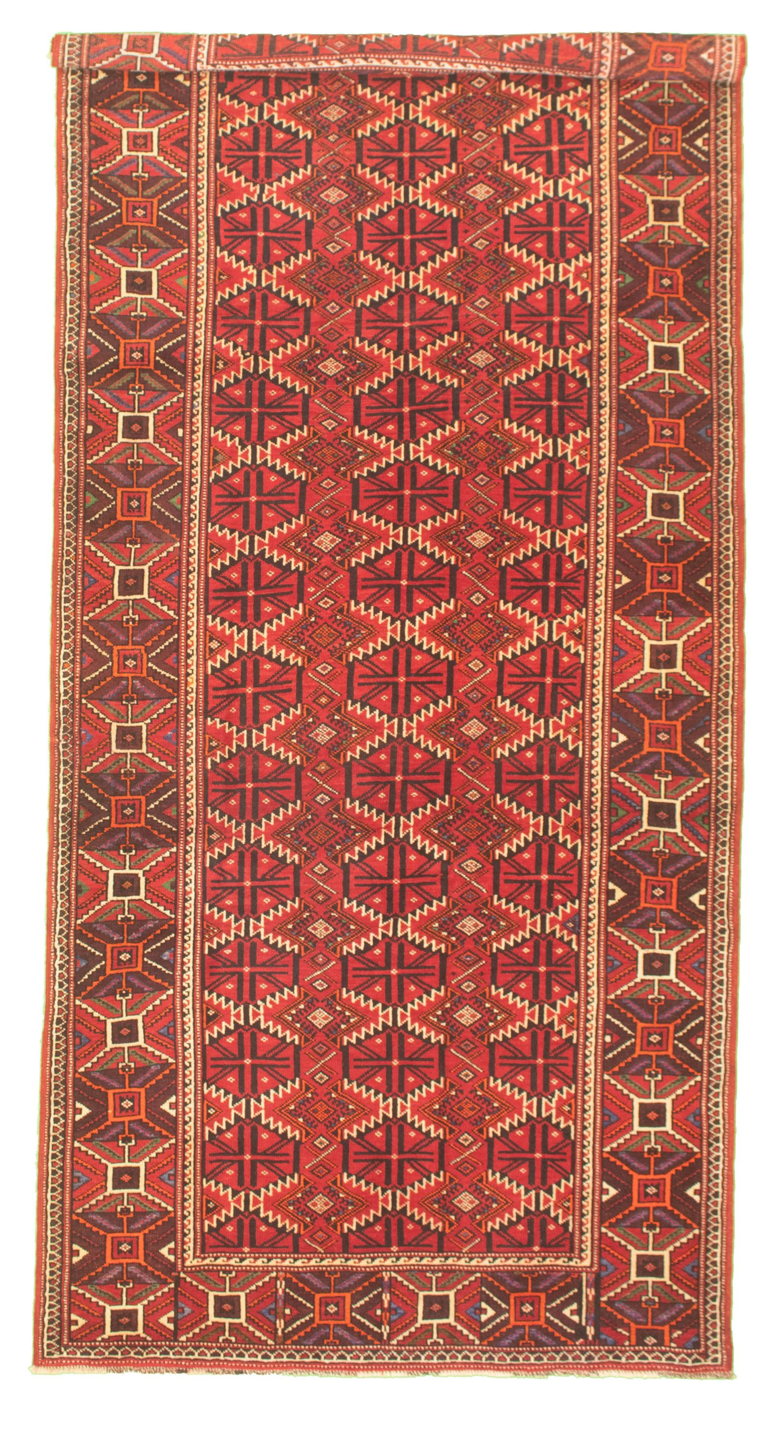 "Hand-knotted Shiravan Bokhara Red Wool Rug 4'9"" x 10'5"" Size: 4'9"" x 10'5"""