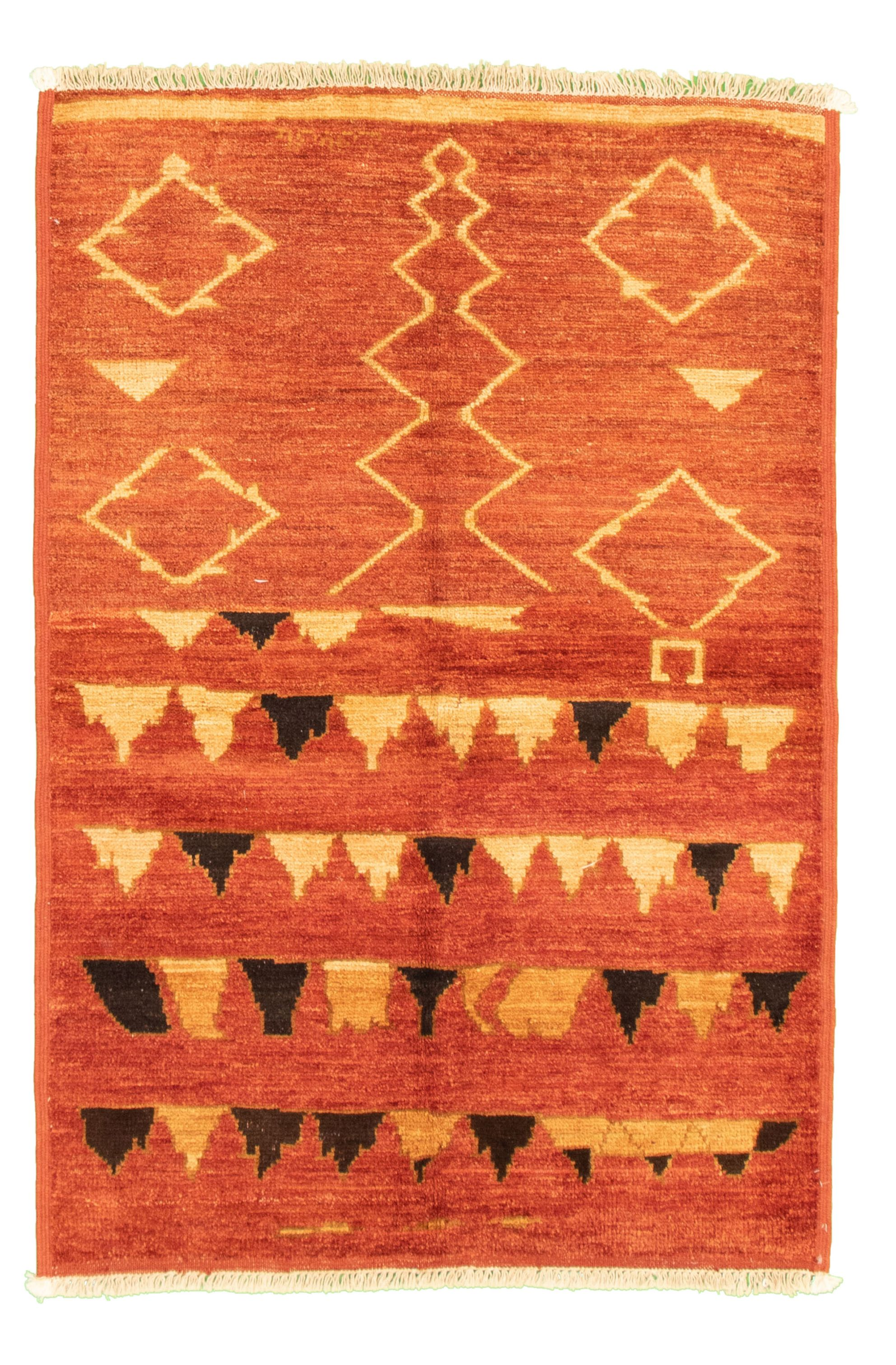 """Hand-knotted Tangier Dark Copper Wool Rug 4'1"""" x 5'10"""" Size: 4'1"""" x 5'10"""""""
