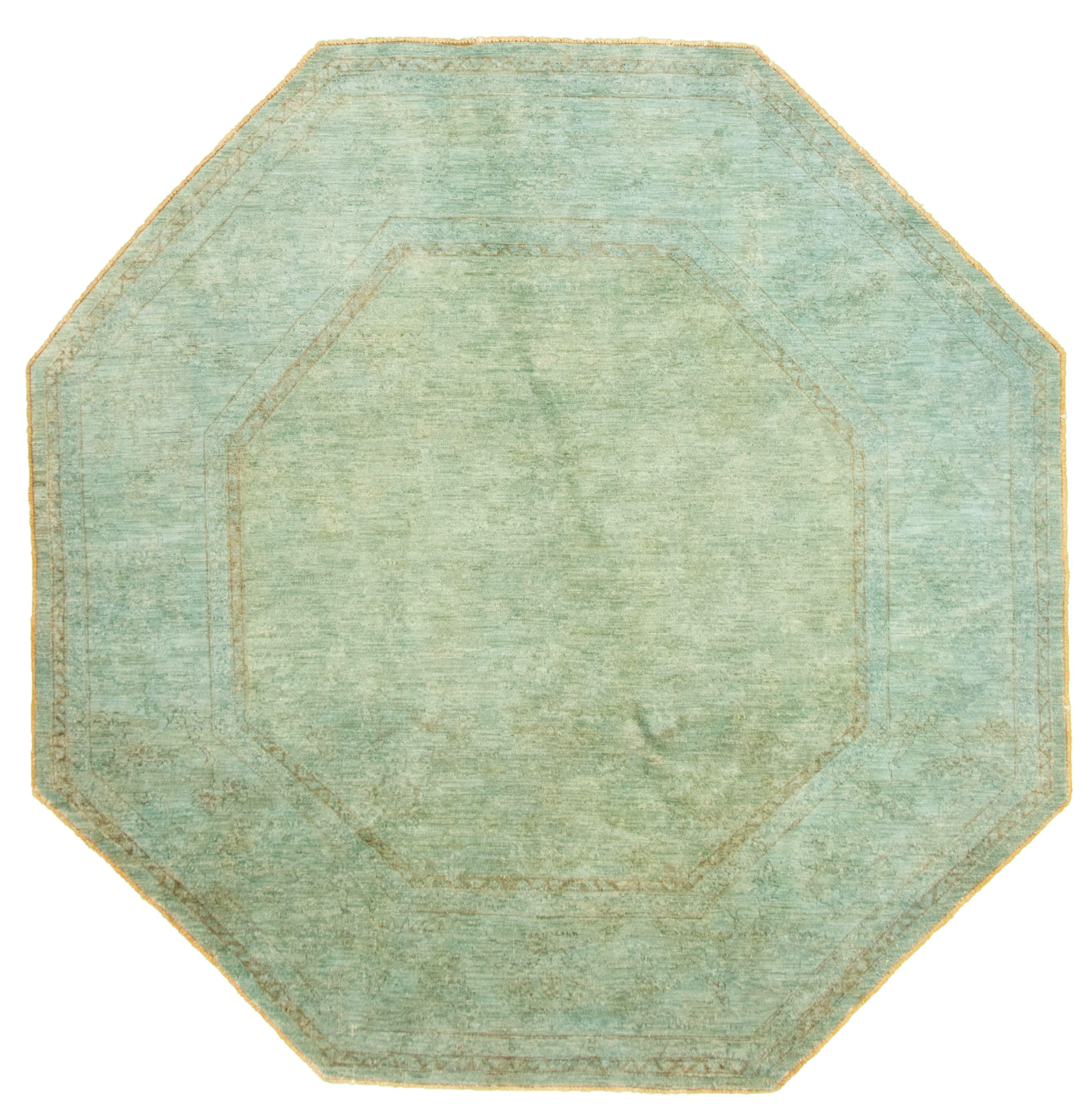 """Hand-knotted Color Transition Light Blue  Wool Rug 7'9"""" x 7'9"""" Size: 7'9"""" x 7'9"""""""