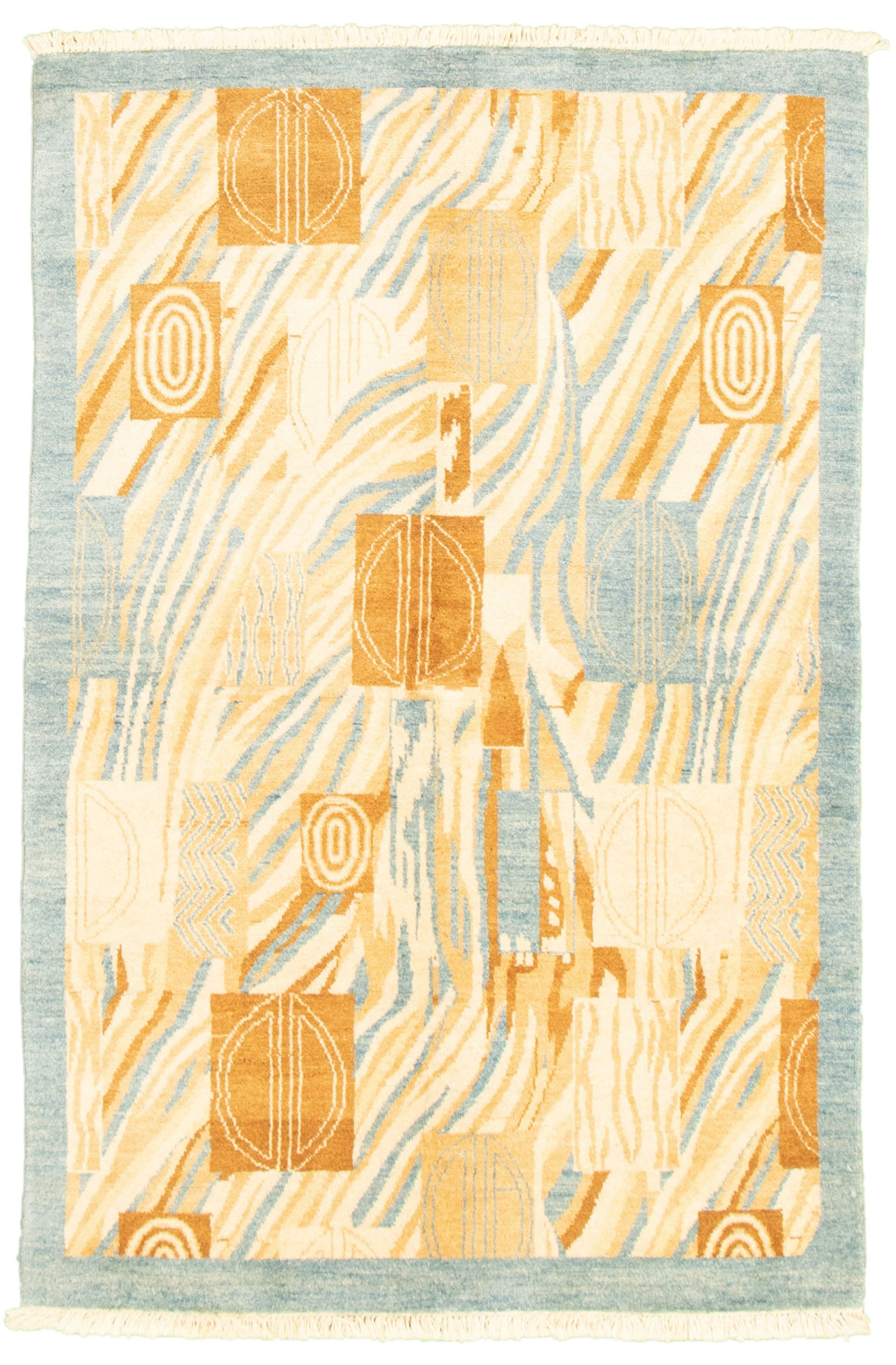 "Hand-knotted Peshawar Ziegler Light Blue  Wool Rug 4'0"" x 6'1"" Size: 4'0"" x 6'1"""