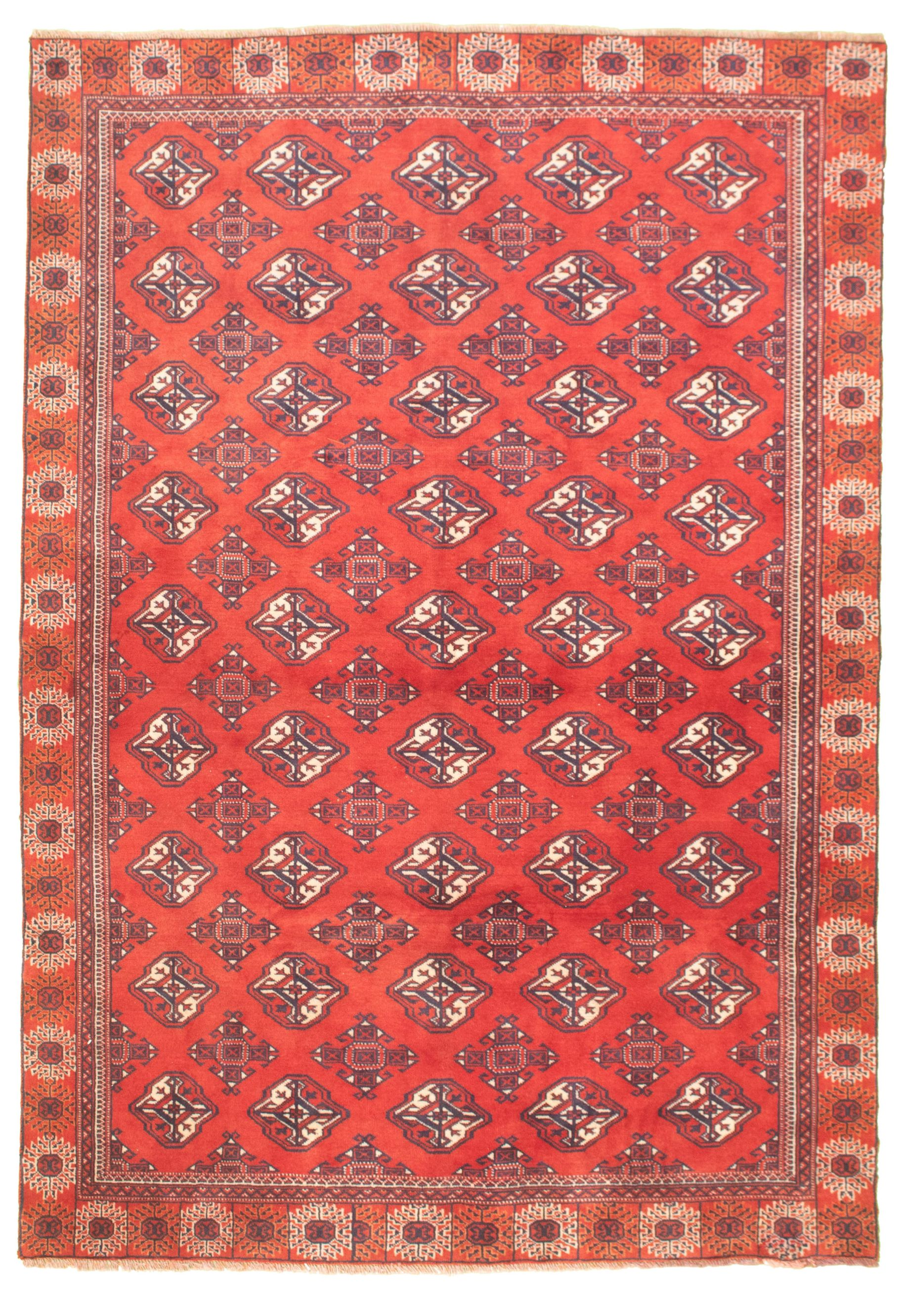 """Hand-knotted Shiravan Bokhara Red Wool Rug 5'10"""" x 8'8"""" Size: 5'10"""" x 8'8"""""""