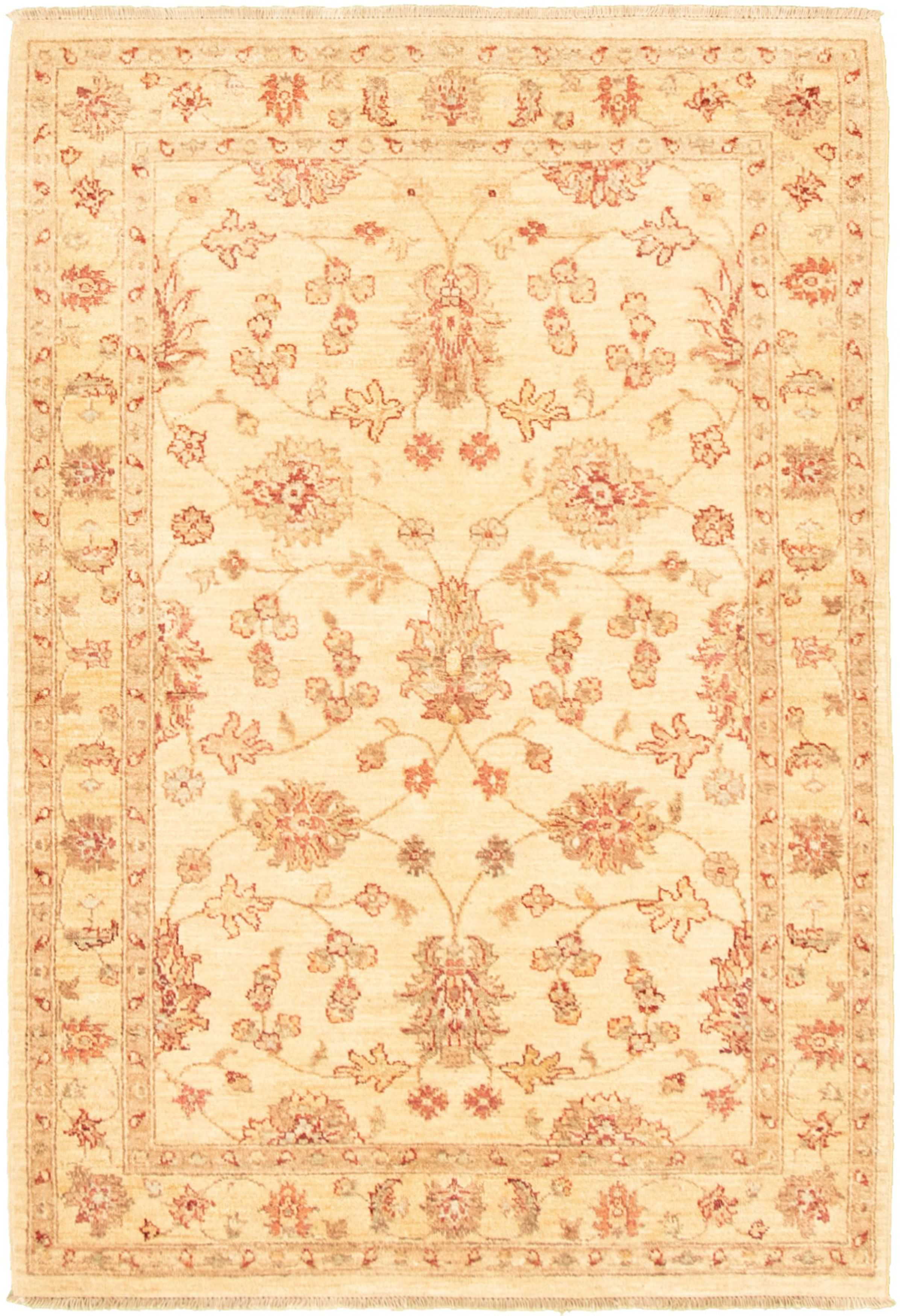"""Hand-knotted Chobi Finest Ivory Wool Rug 4'3"""" x 6'1"""" Size: 4'3"""" x 6'1"""""""
