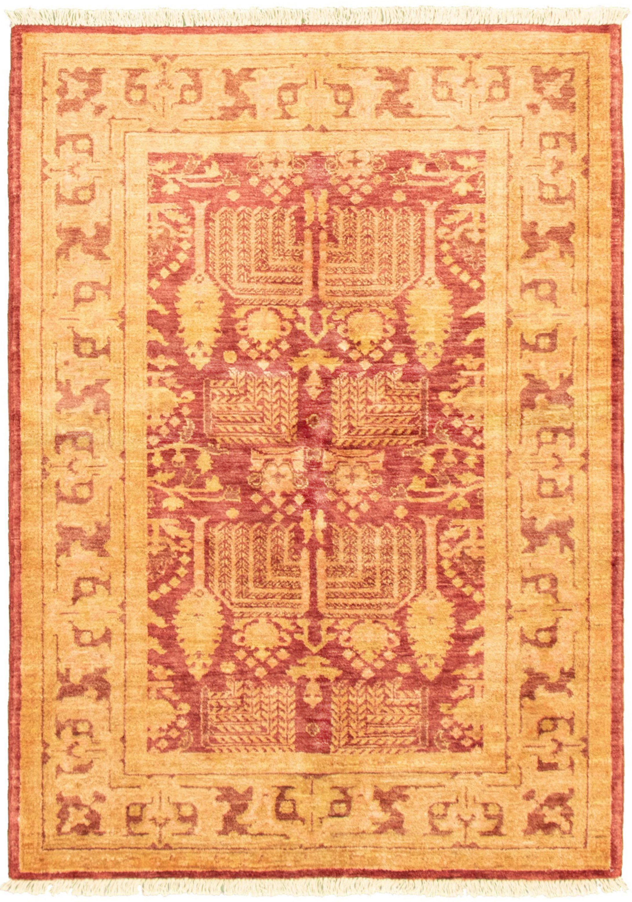 """Hand-knotted Chobi Finest Dark Red Wool Rug 4'1"""" x 5'10"""" Size: 4'1"""" x 5'10"""""""