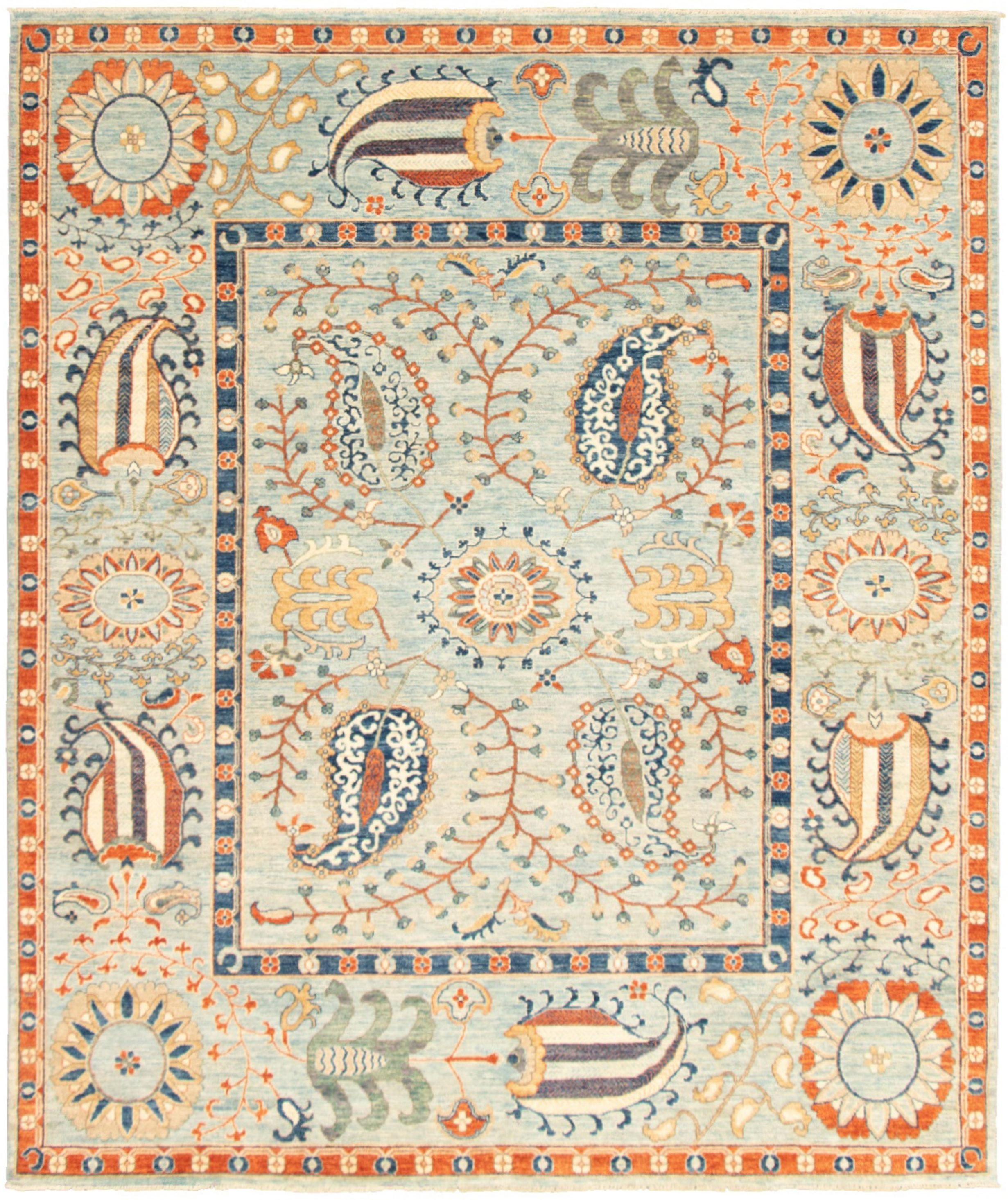 """Hand-knotted Aryana Blue  Rug 8'2"""" x 9'10"""" Size: 8'2"""" x 9'10"""""""
