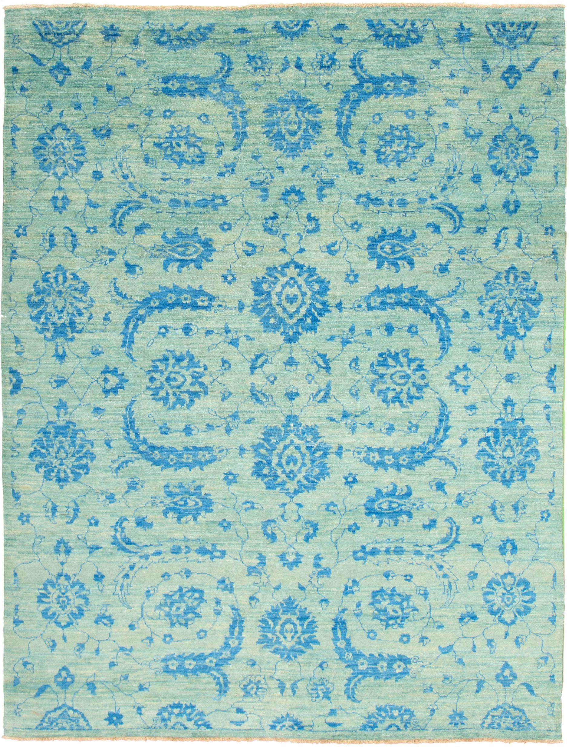 "Hand-knotted Peshawar Ziegler Blue, Light Green  Rug 9'0"" x 11'10"" Size: 9'0"" x 11'10"""