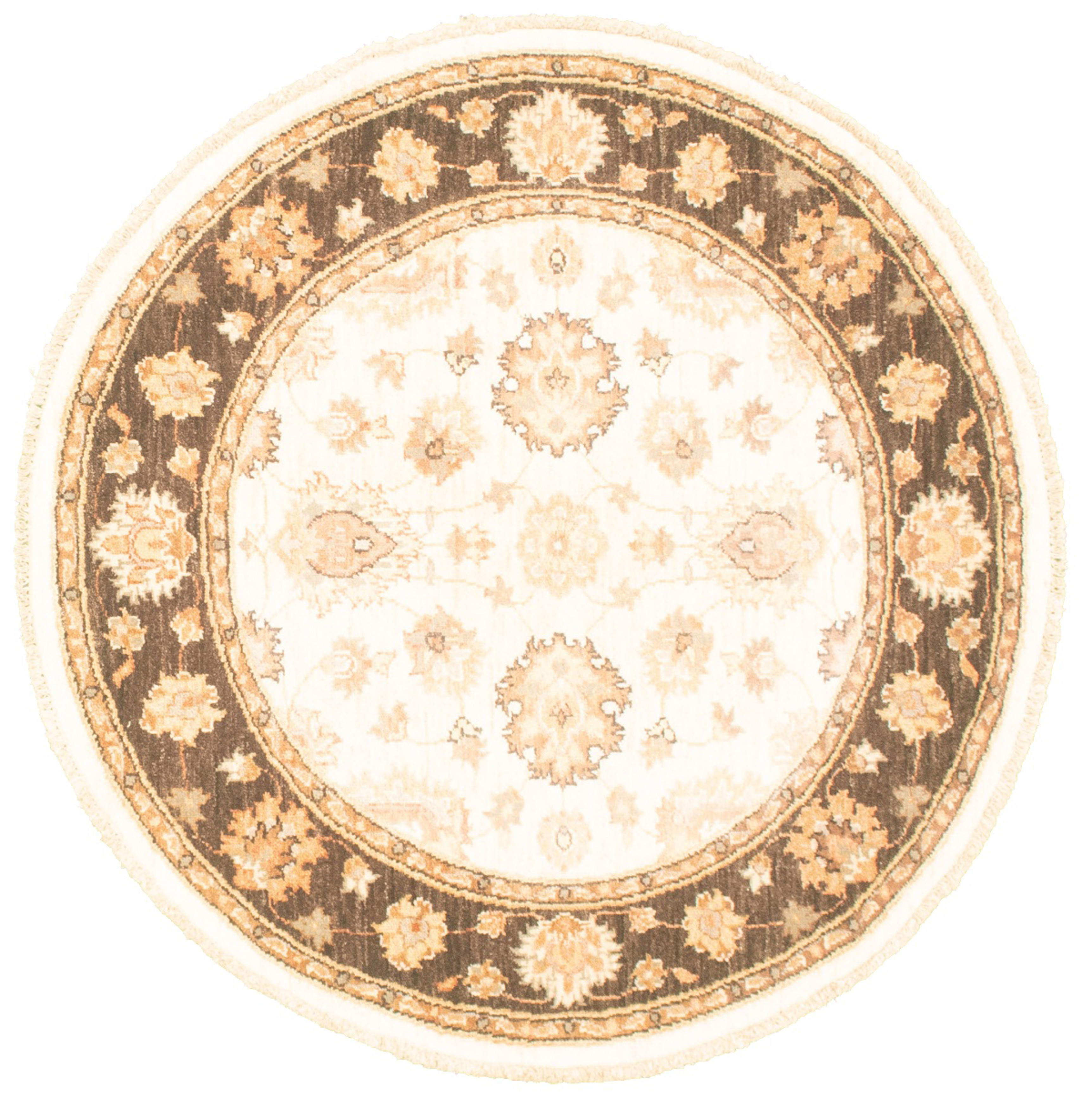 """Hand-knotted Chobi Finest Cream Wool Rug 4'1"""" x 4'1"""" Size: 4'1"""" x 4'1"""""""
