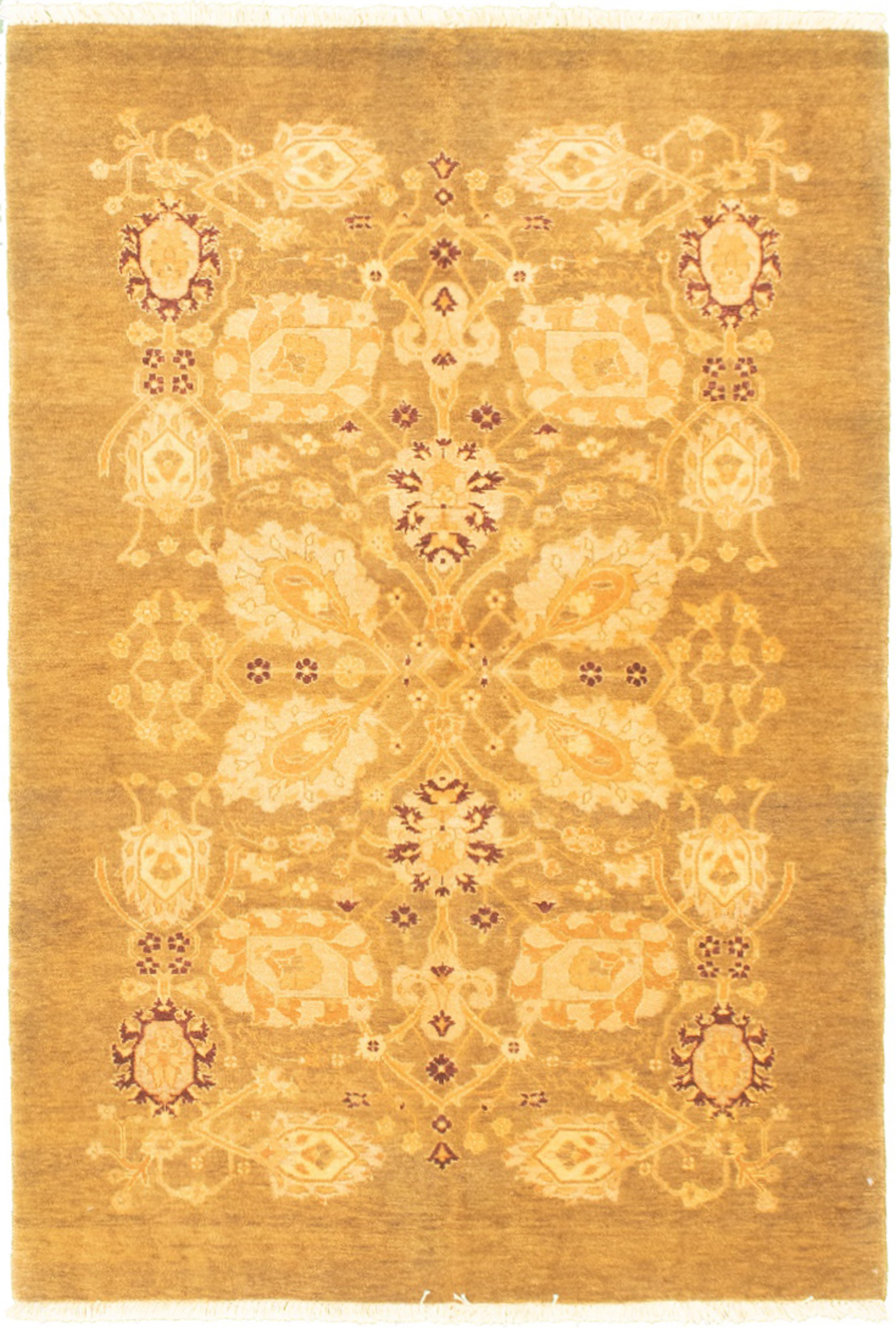 """Hand-knotted Pako Persian 18/20 Olive Wool Rug 4'1"""" x 6'0"""" Size: 4'1"""" x 6'0"""""""