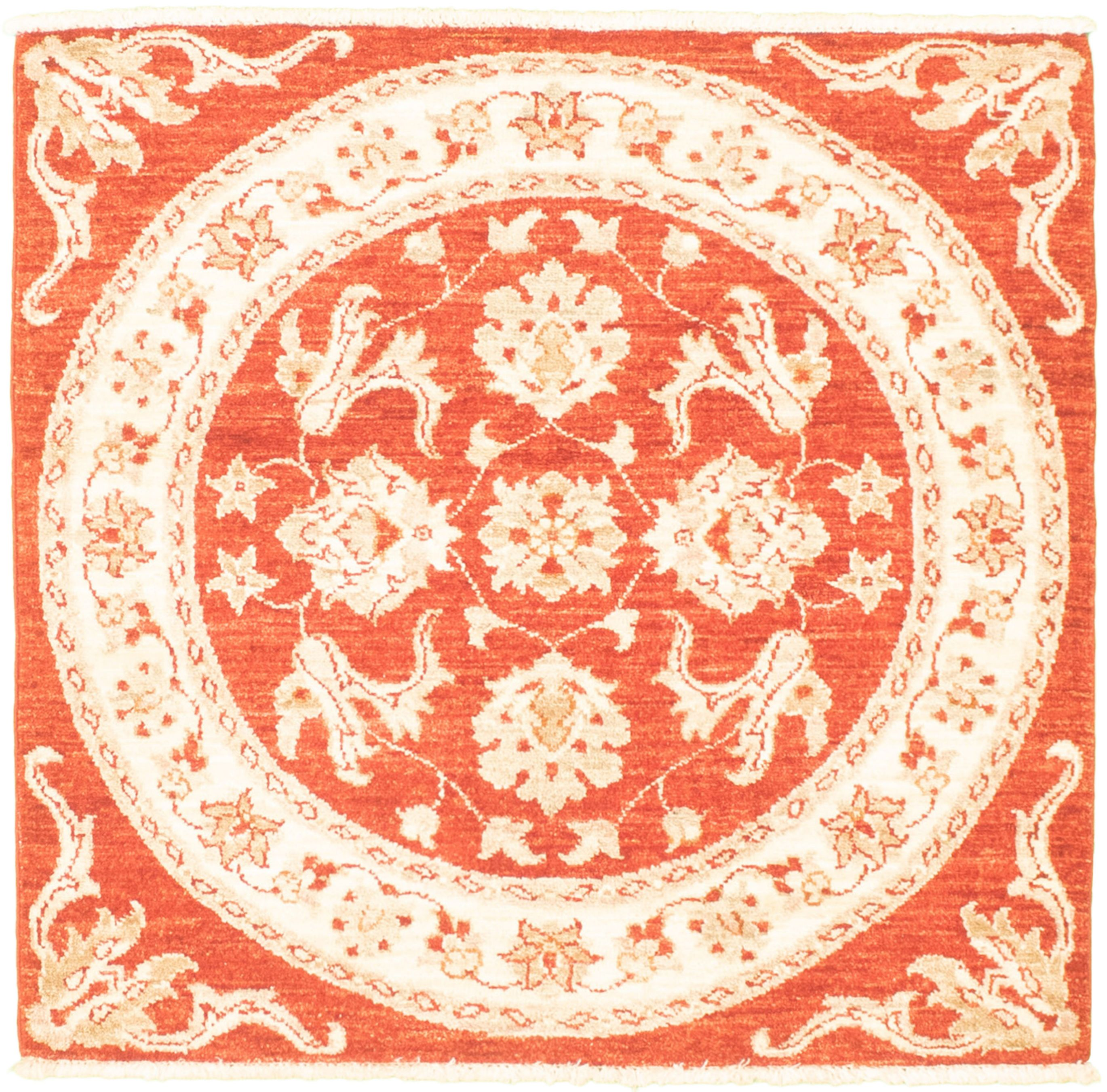 """Hand-knotted Chobi Finest Red Wool Rug 3'1"""" x 3'3"""" Size: 3'1"""" x 3'3"""""""