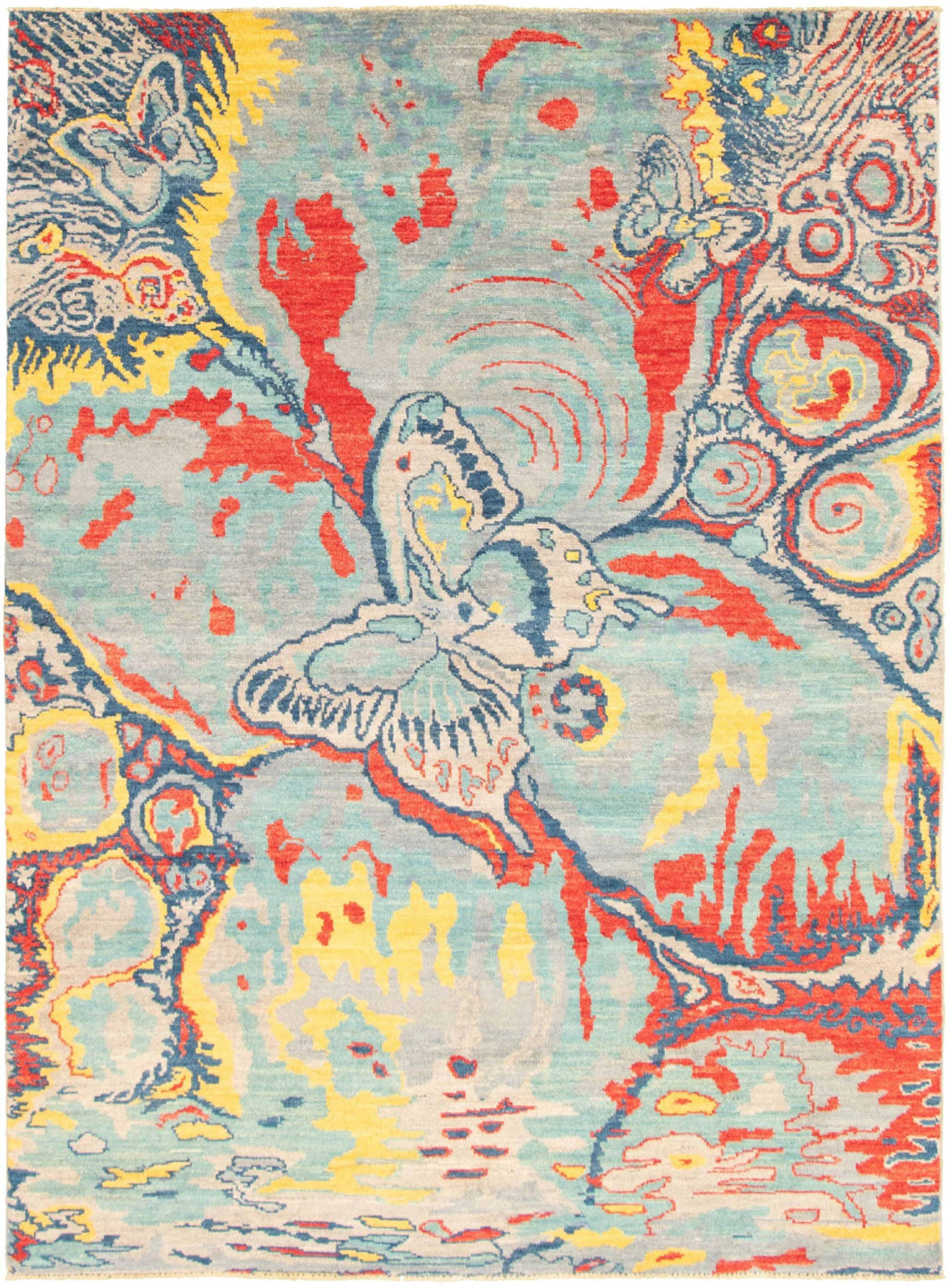 """Hand-knotted Abstract Lahore Legacy Light Blue   Rug 7'5"""" x 10'4"""" Size: 7'5"""" x 10'4"""""""
