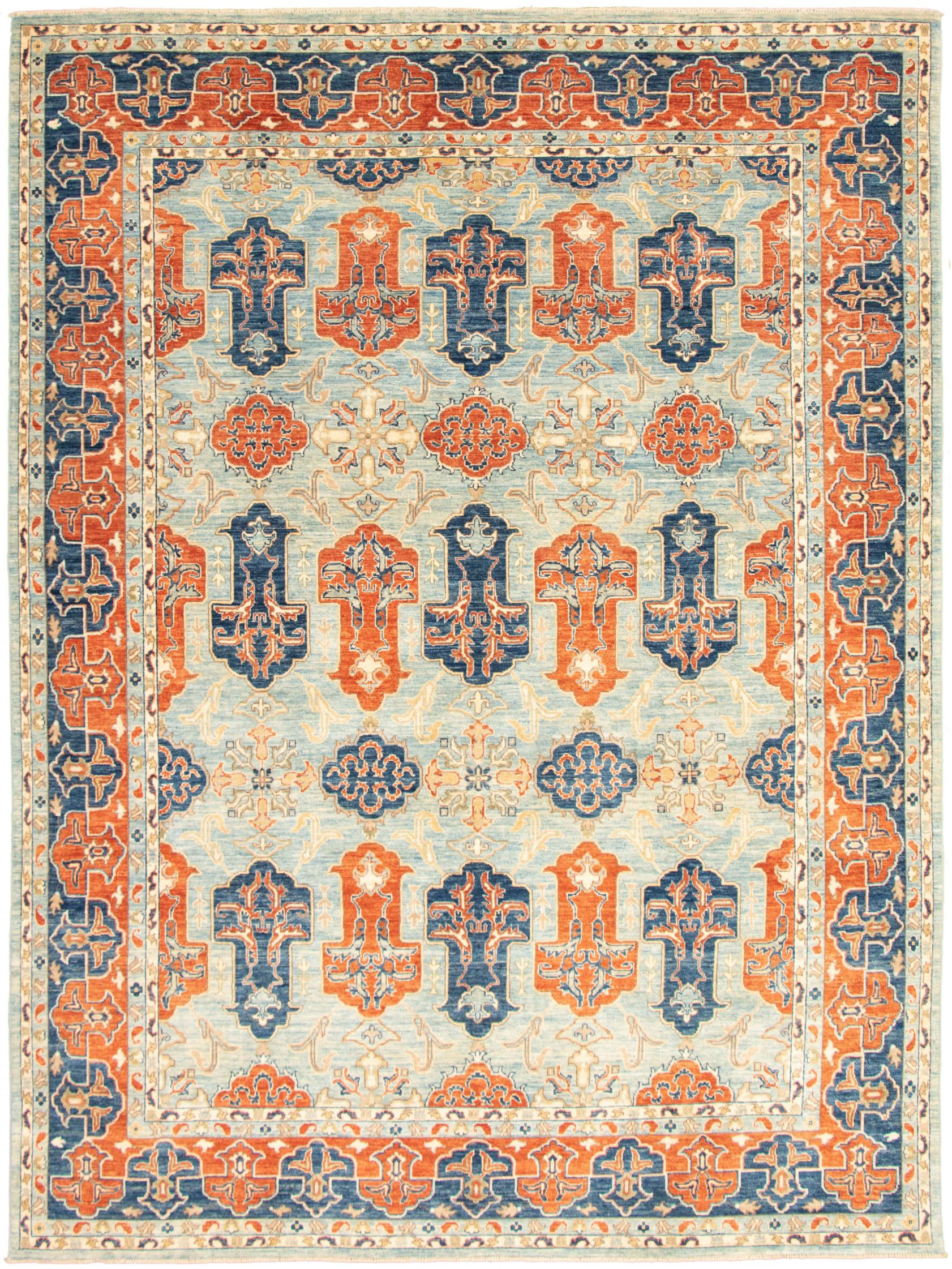 """Hand-knotted Aryana Dark Copper, Light Blue   Rug 8'11"""" x 12'0"""" Size: 8'11"""" x 12'0"""""""