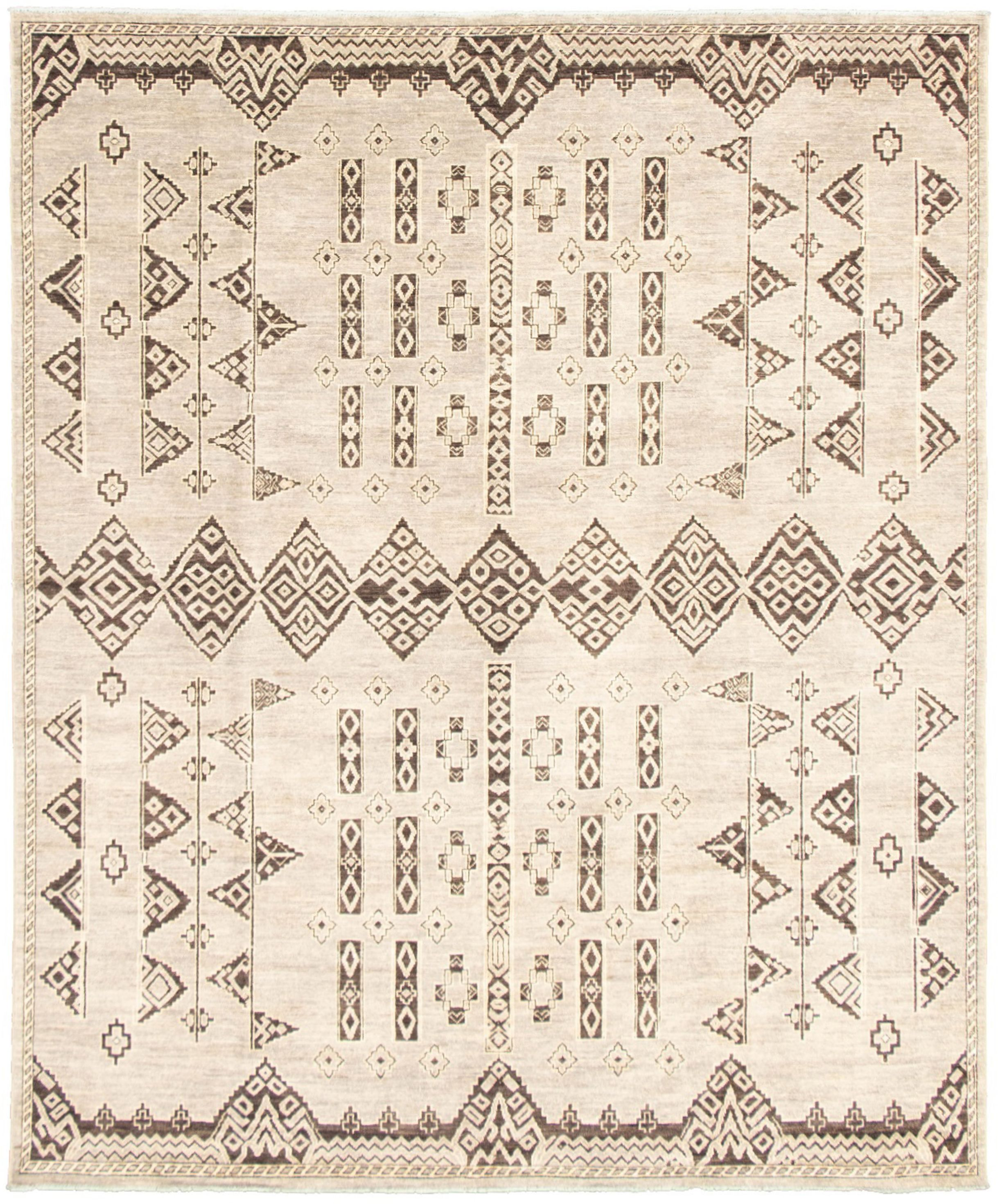 """Hand-knotted Signature Collection Grey  Rug 8'2"""" x 9'10"""" Size: 8'2"""" x 9'11"""""""