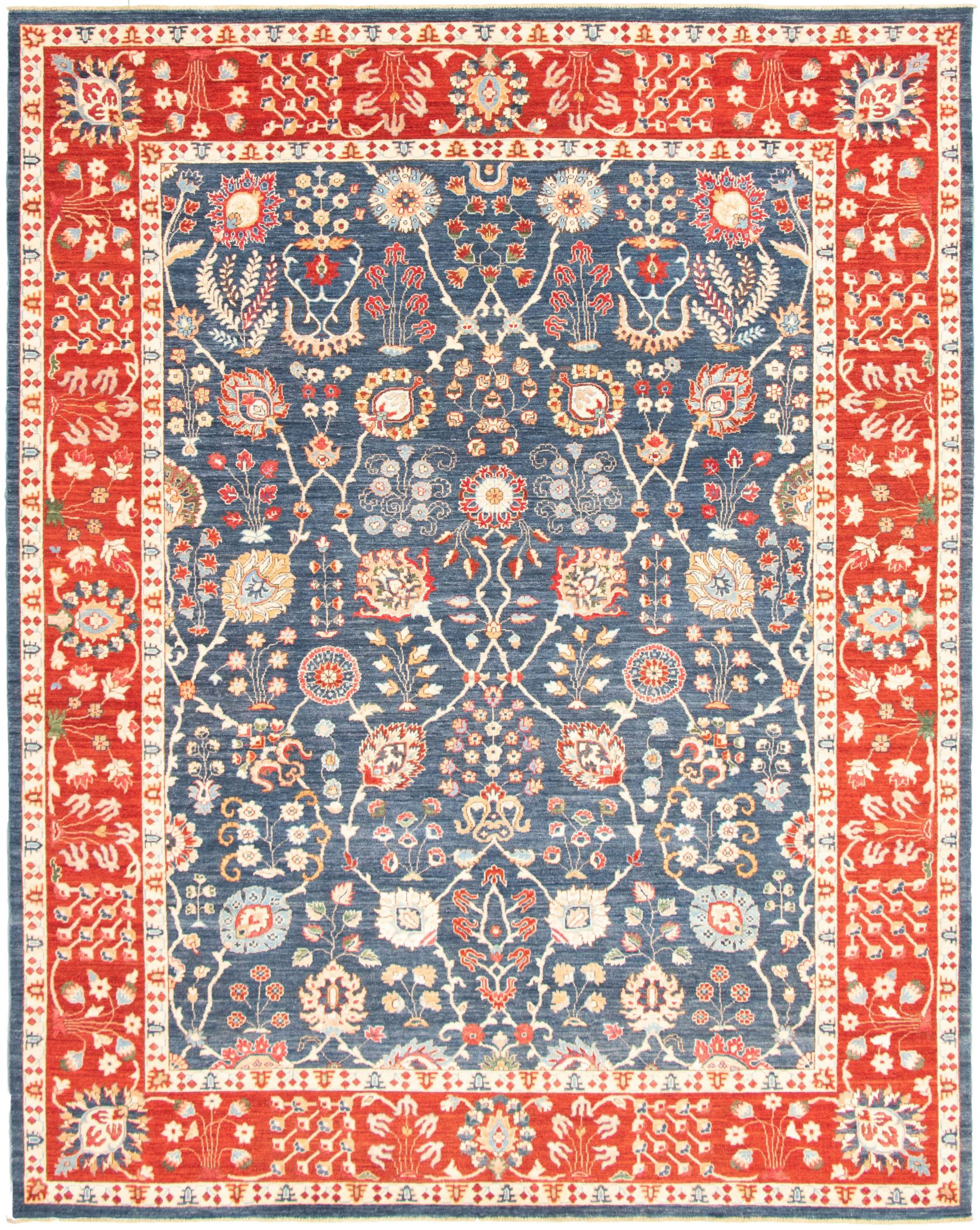 """Hand-knotted Pako Persian 18/20 Navy Blue, Red  Rug 9'1"""" x 11'4"""" Size: 9'1"""" x 11'4"""""""